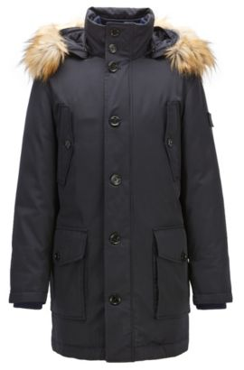 Regular-fit parka jacket in technical twill, Dark Blue