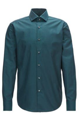 Chemise Regular Fit en coton à motif argyle, Vert