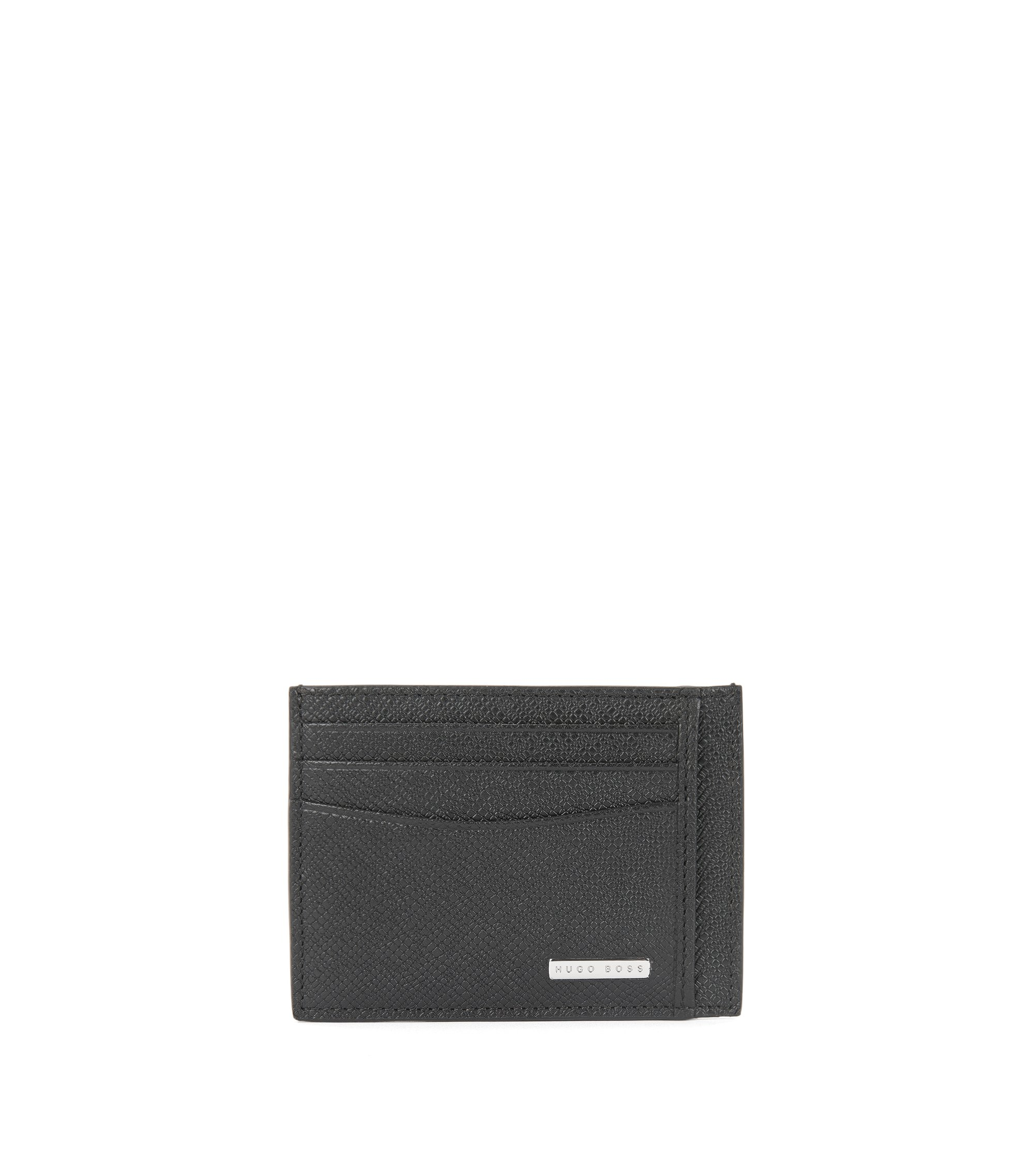 Signature Collection card holder in palmellato leather, Black