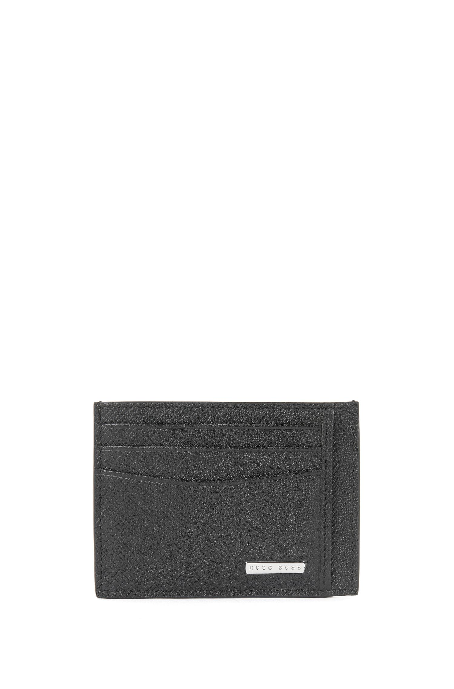 Porte-cartes Signature Collection, en cuir palmellato, Noir