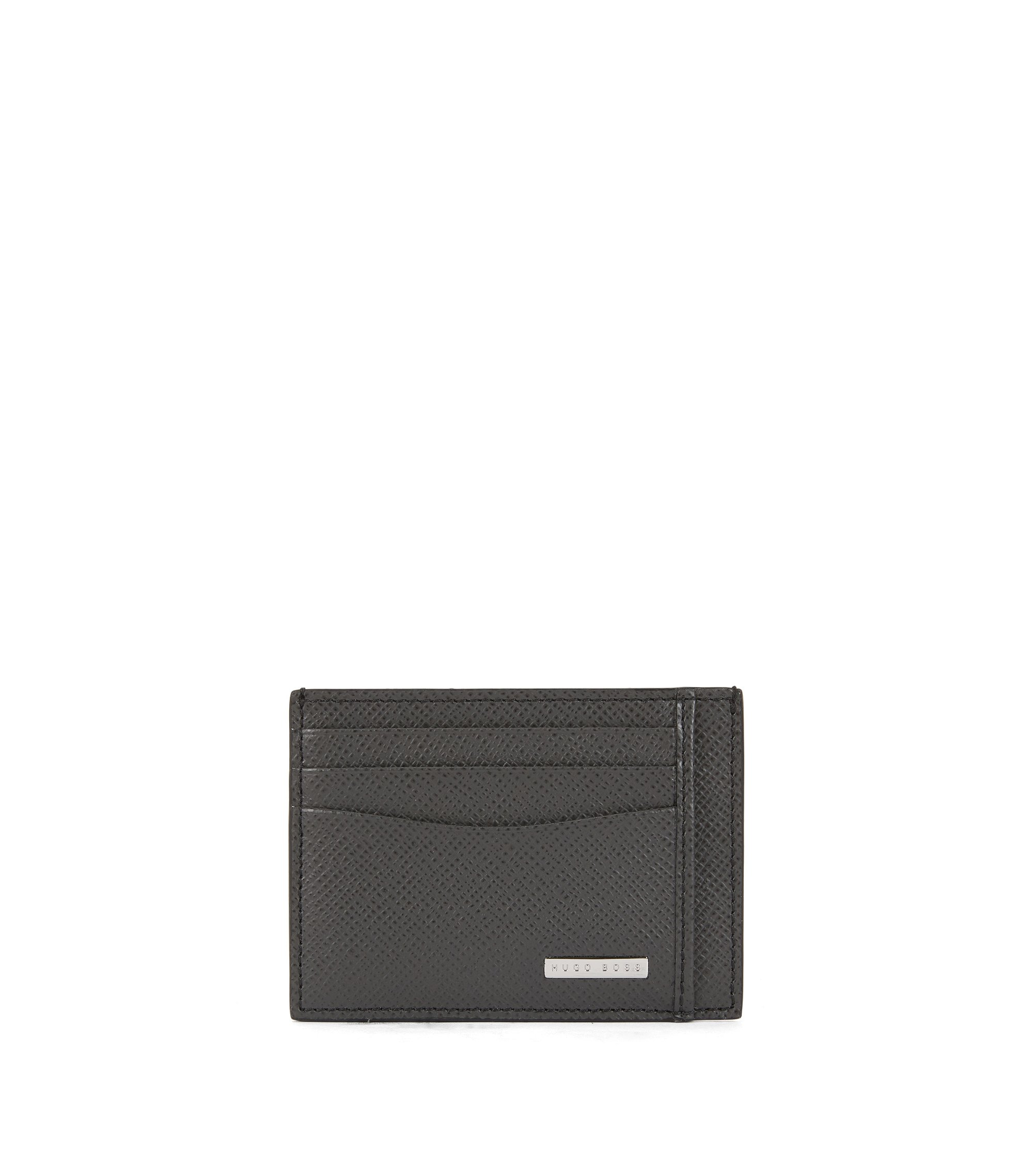 Signature Collection card holder in palmellato leather, Dark Grey