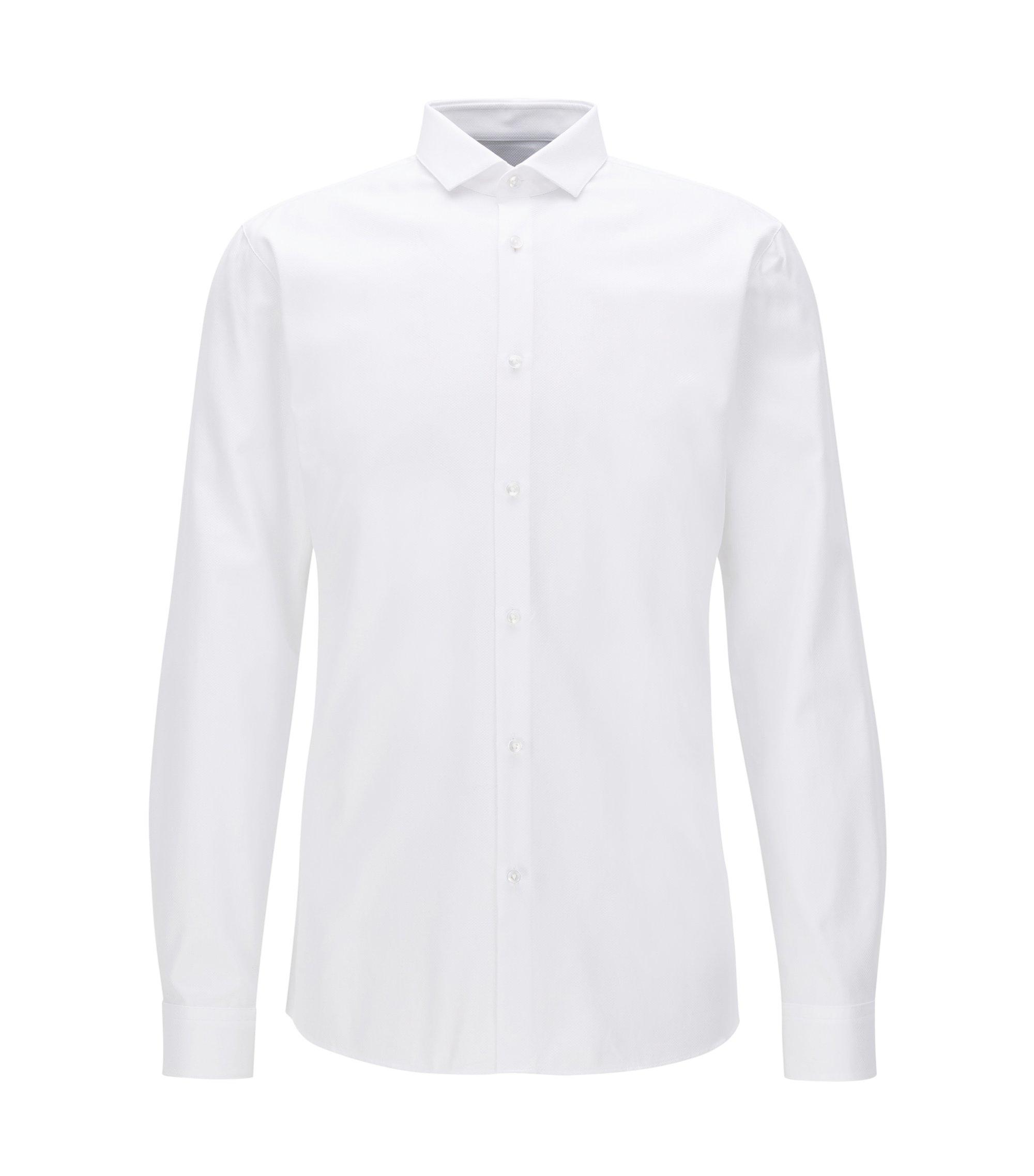 Extra slim-fit overhemd van gestructureerde, tweedraadse katoen, Wit
