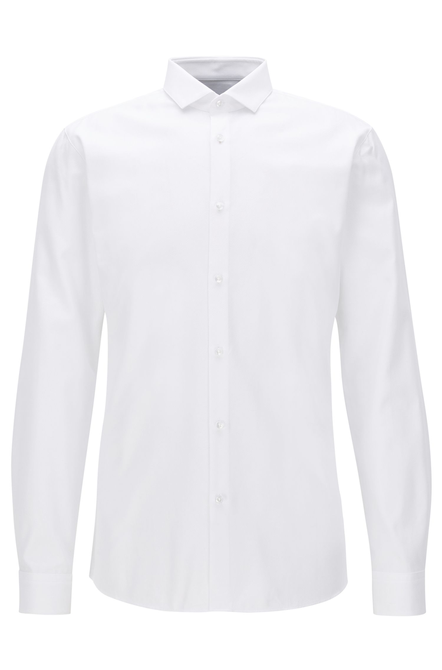 Extra-slim-fit shirt in textured two-ply cotton