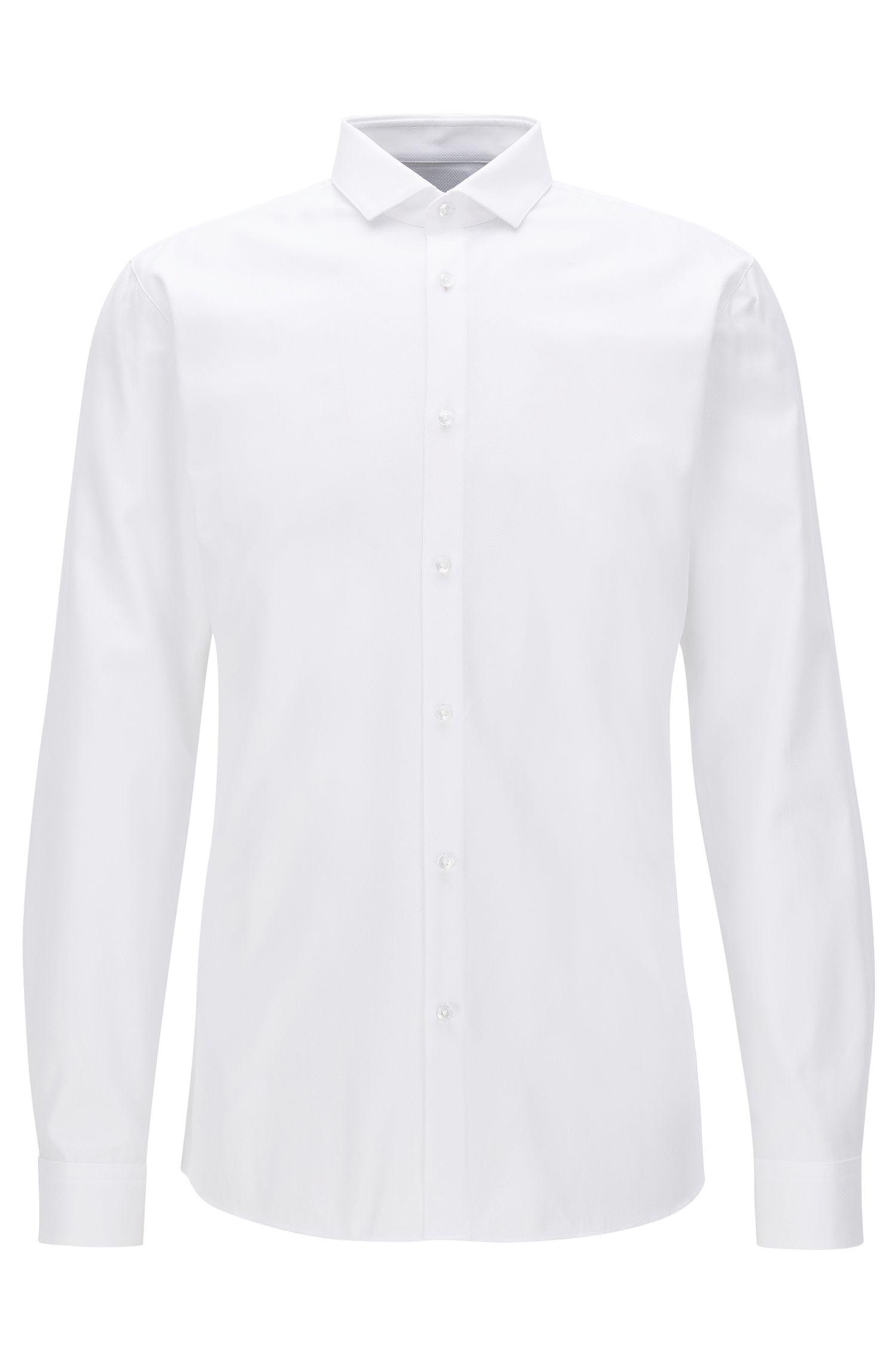 Extra Slim-Fit Hemd aus strukturierter Vollzwirn-Baumwolle