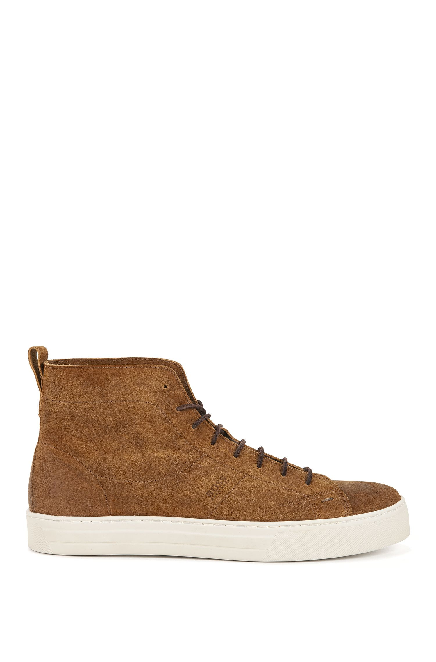 Laced half boots in soft suede