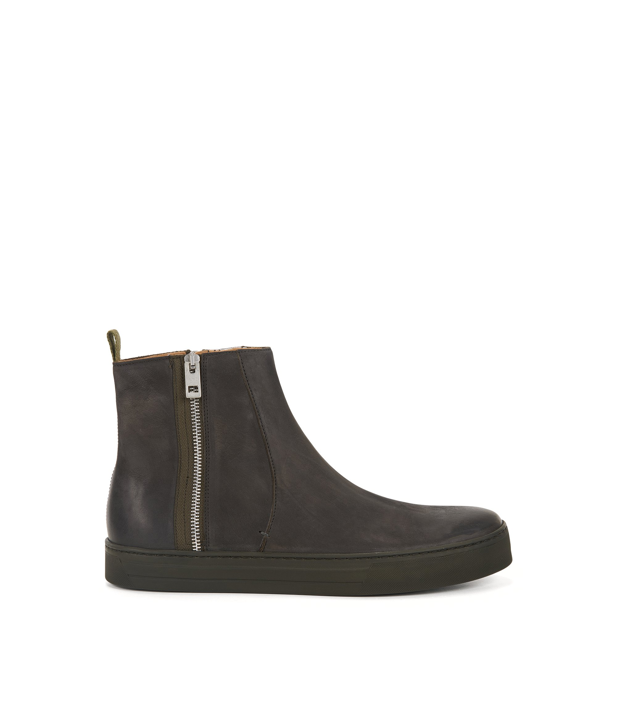 Side-zip boots in soft nubuck , Dark Grey