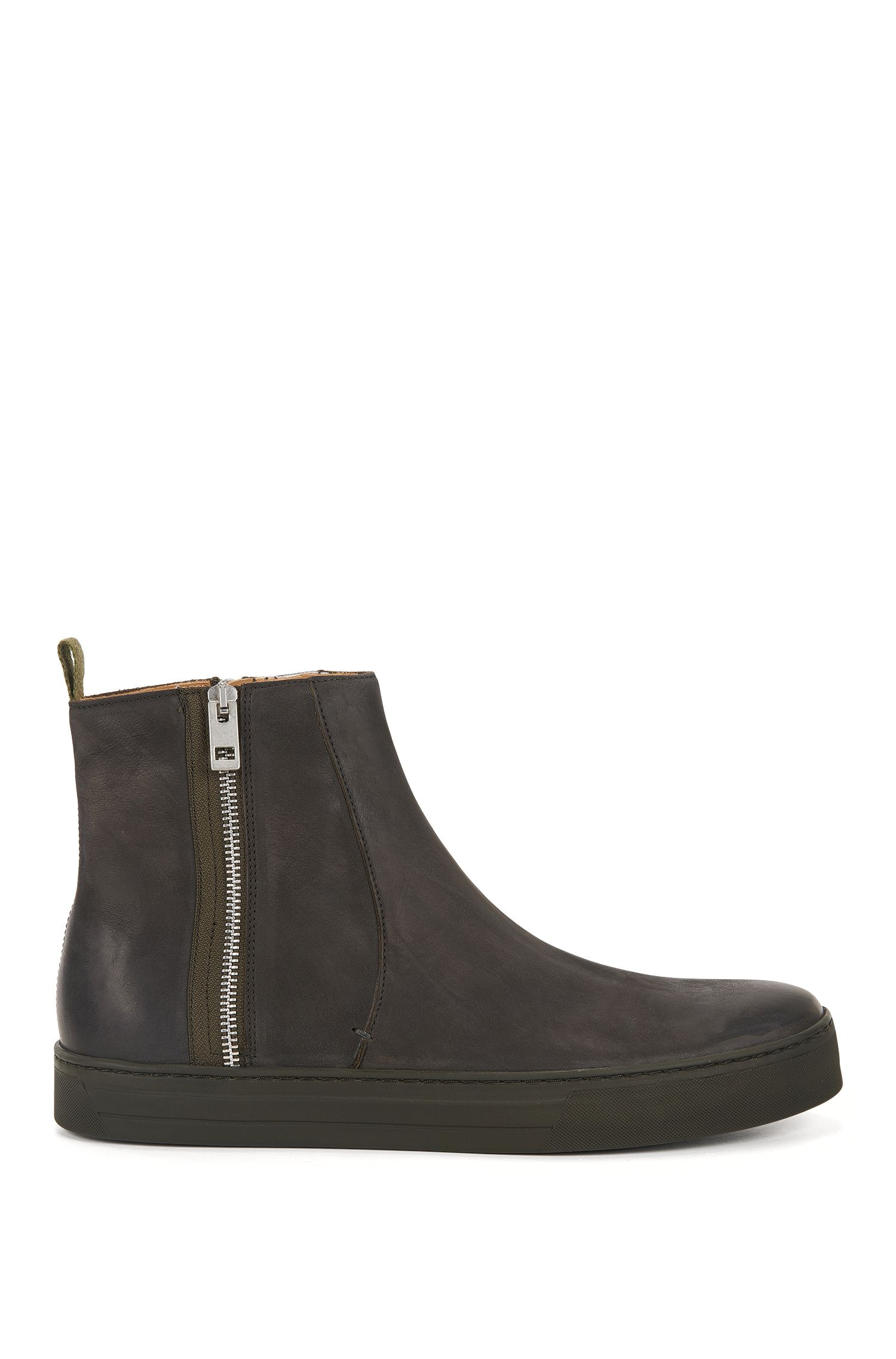 Side-zip boots in soft nubuck