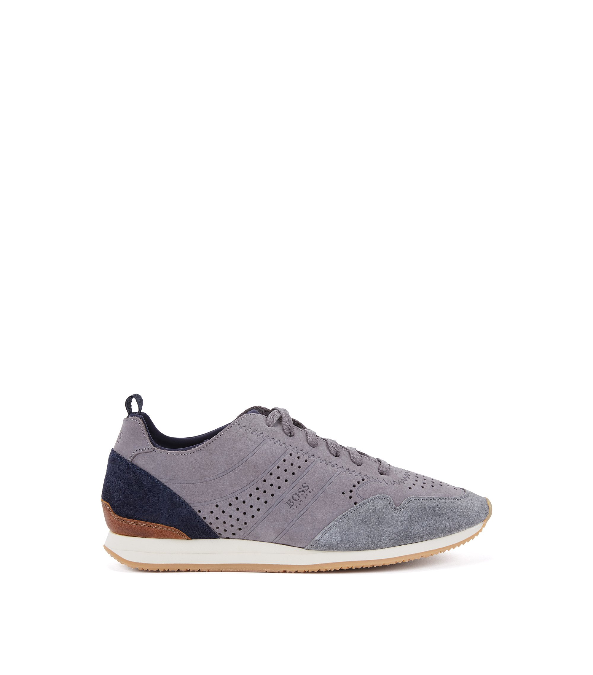 Lace-up trainers in soft nubuck, Grey