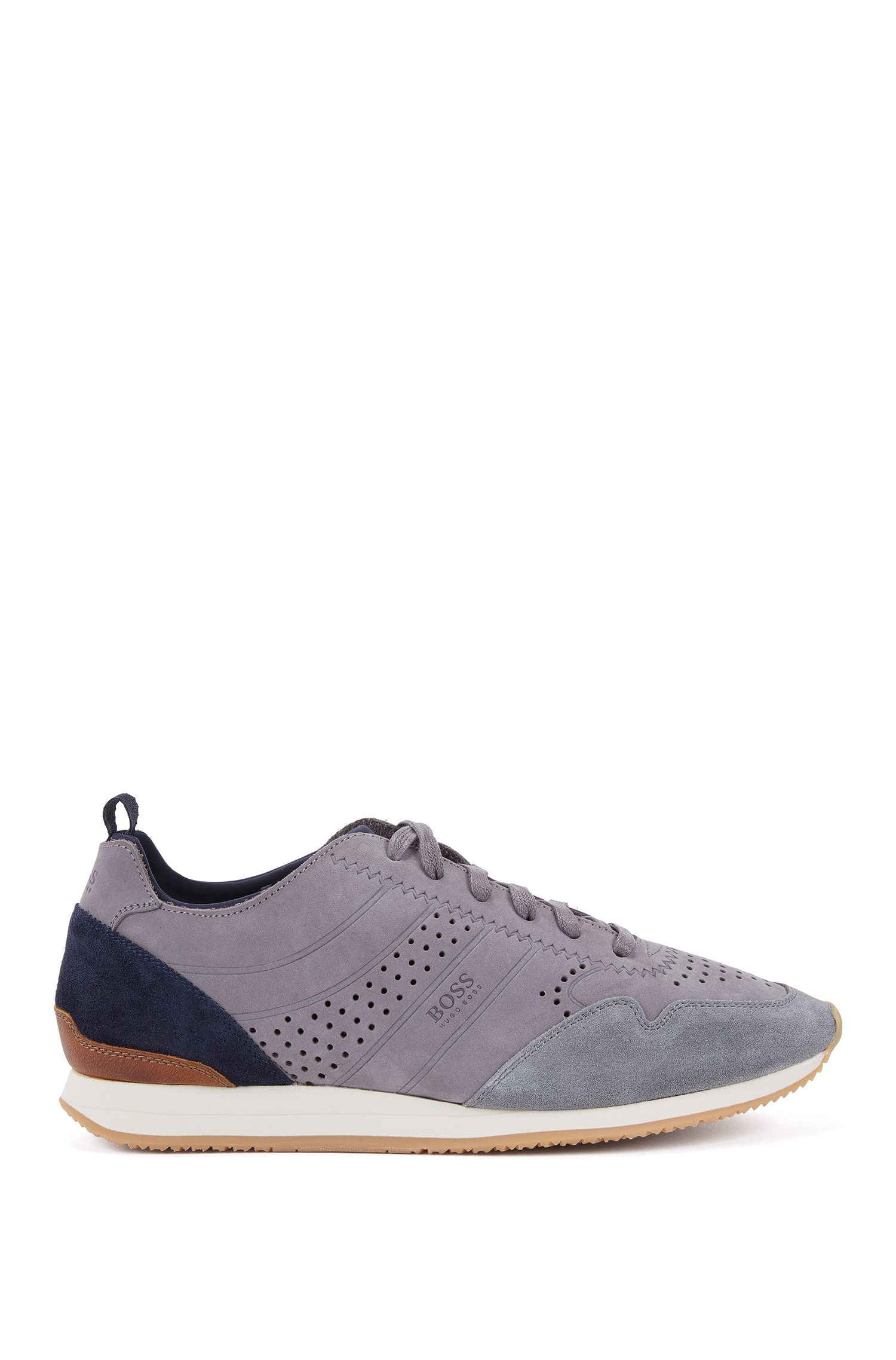 Lace-up trainers in soft nubuck