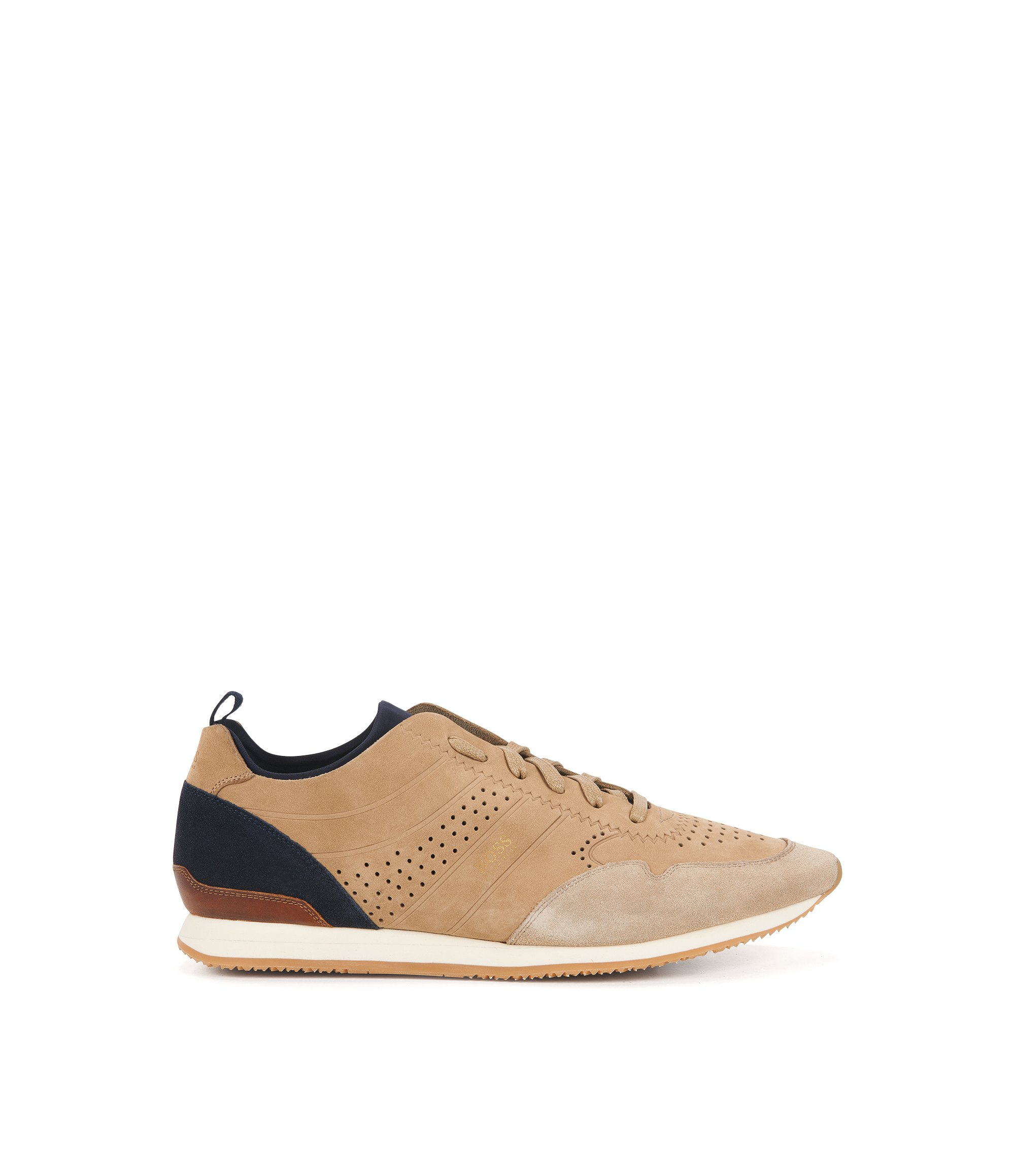 Lace-up trainers in soft nubuck, Beige