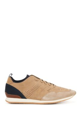 Sneakers stringate in morbido nabuk, Beige