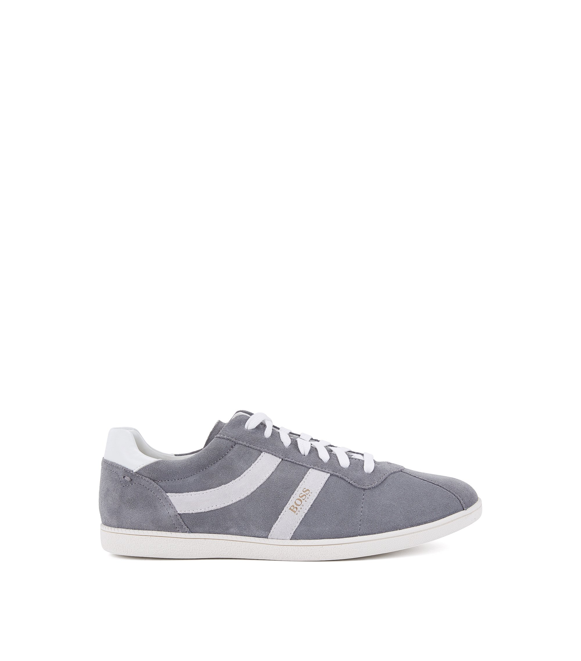 Low-top suede trainers with side stripes, Grey