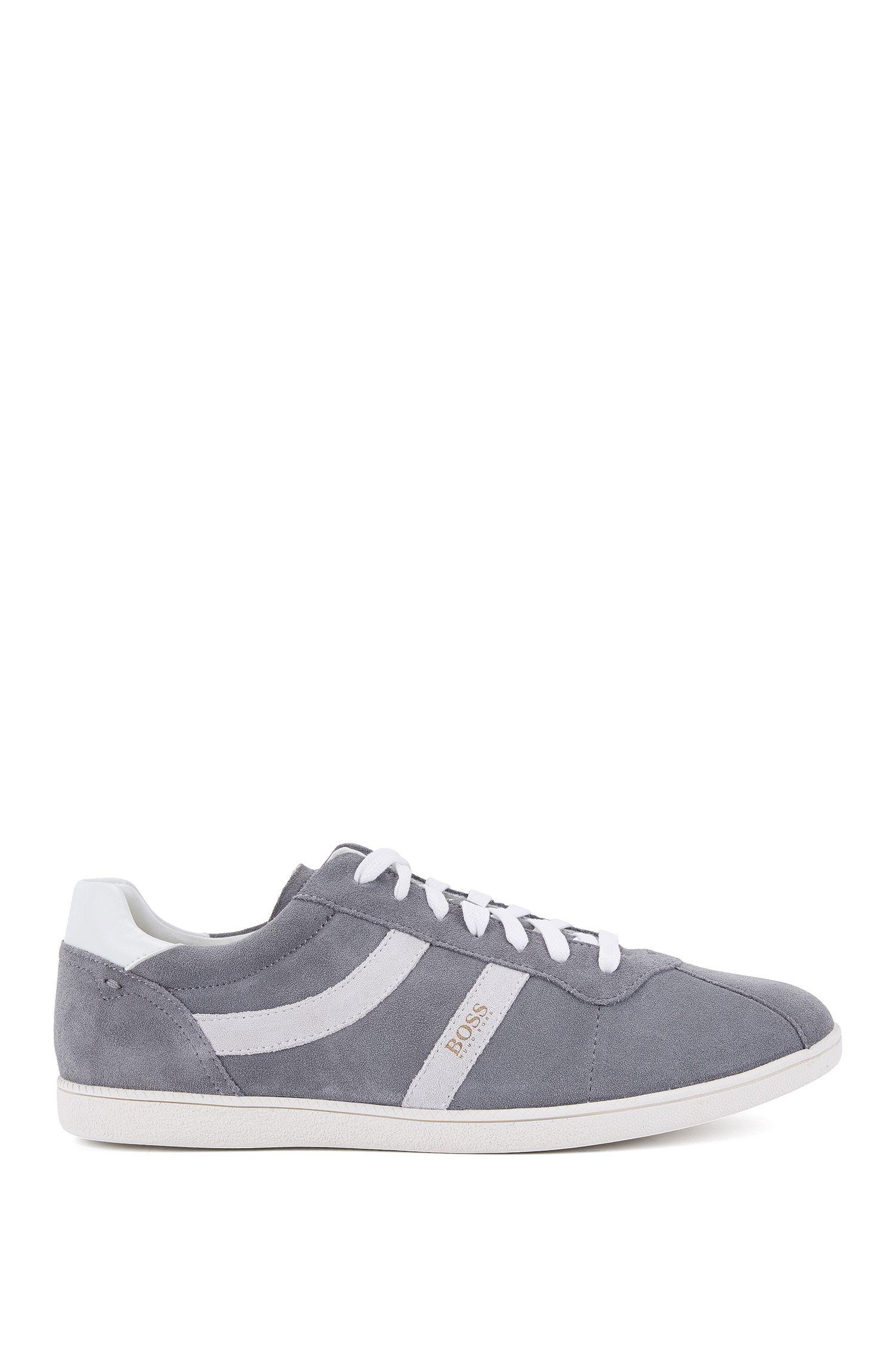Low-top suede trainers with side stripes BOSS