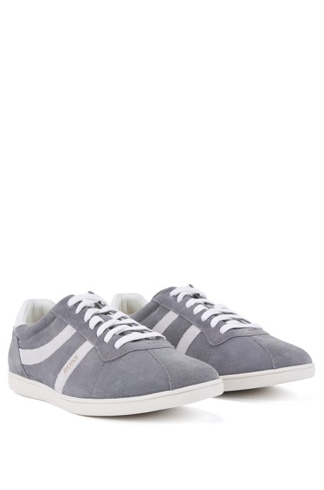 Low-top suede trainers with side stripes BOSS N3daRSiZk