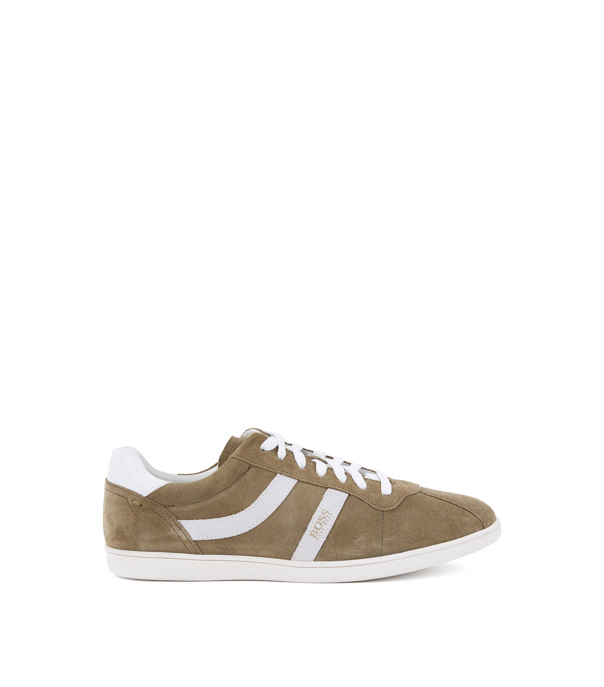 Sneakers low-top in pelle scamosciata con righe laterali, Verde