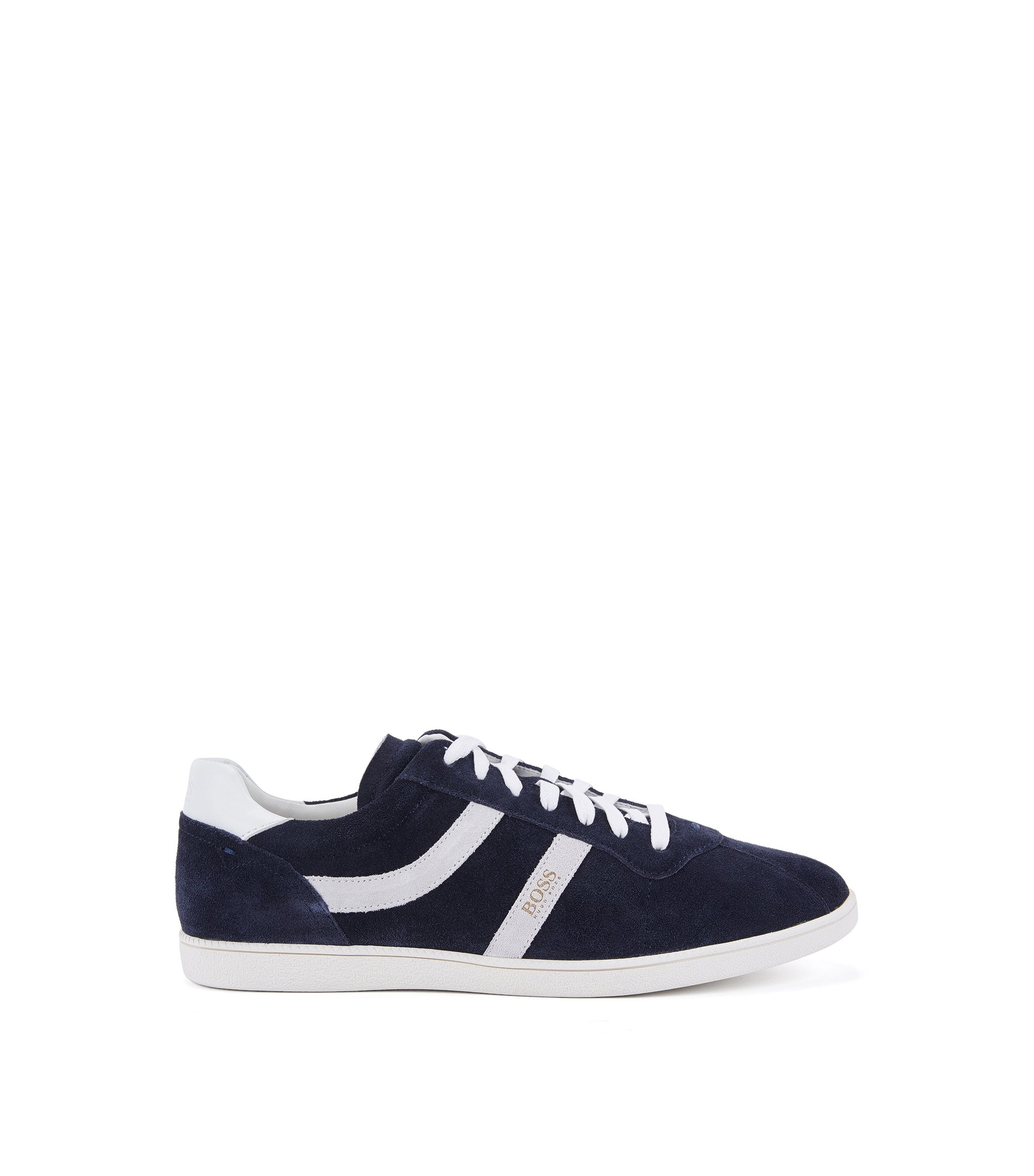 Sneakers low-top in pelle scamosciata con righe laterali, Blu scuro
