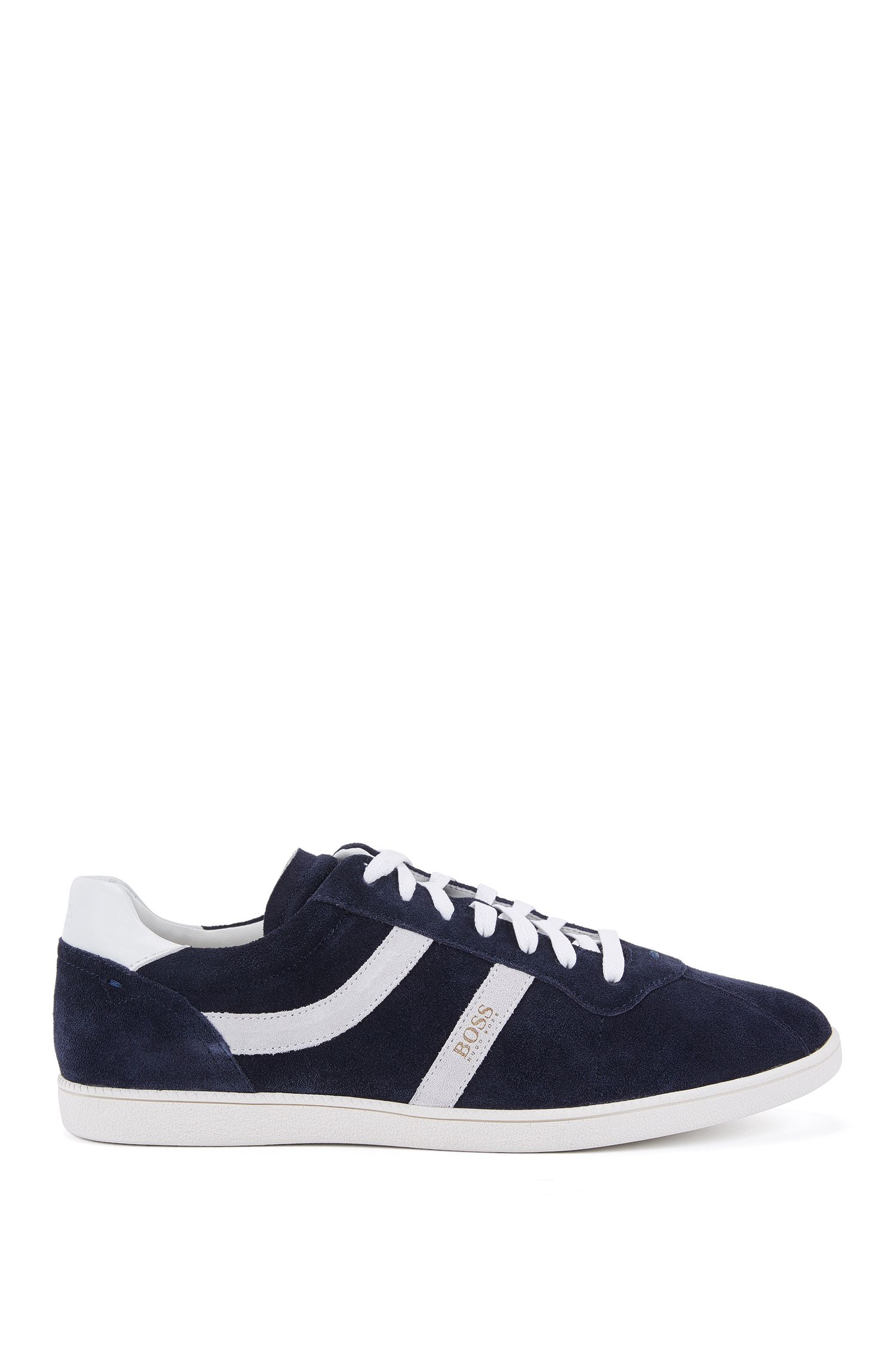 Low-top suede trainers with side stripes