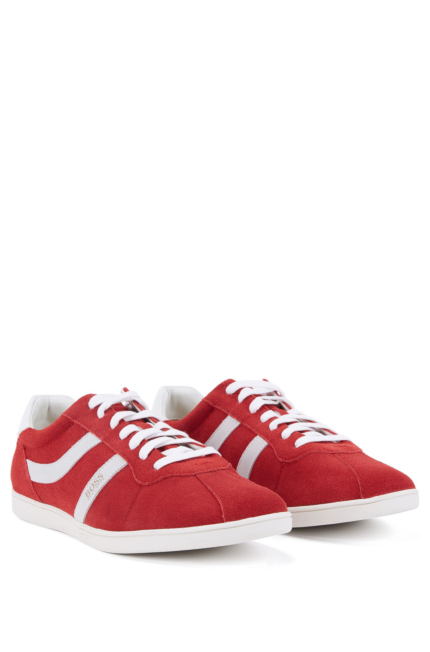 Low-top suede trainers with side stripes, Red