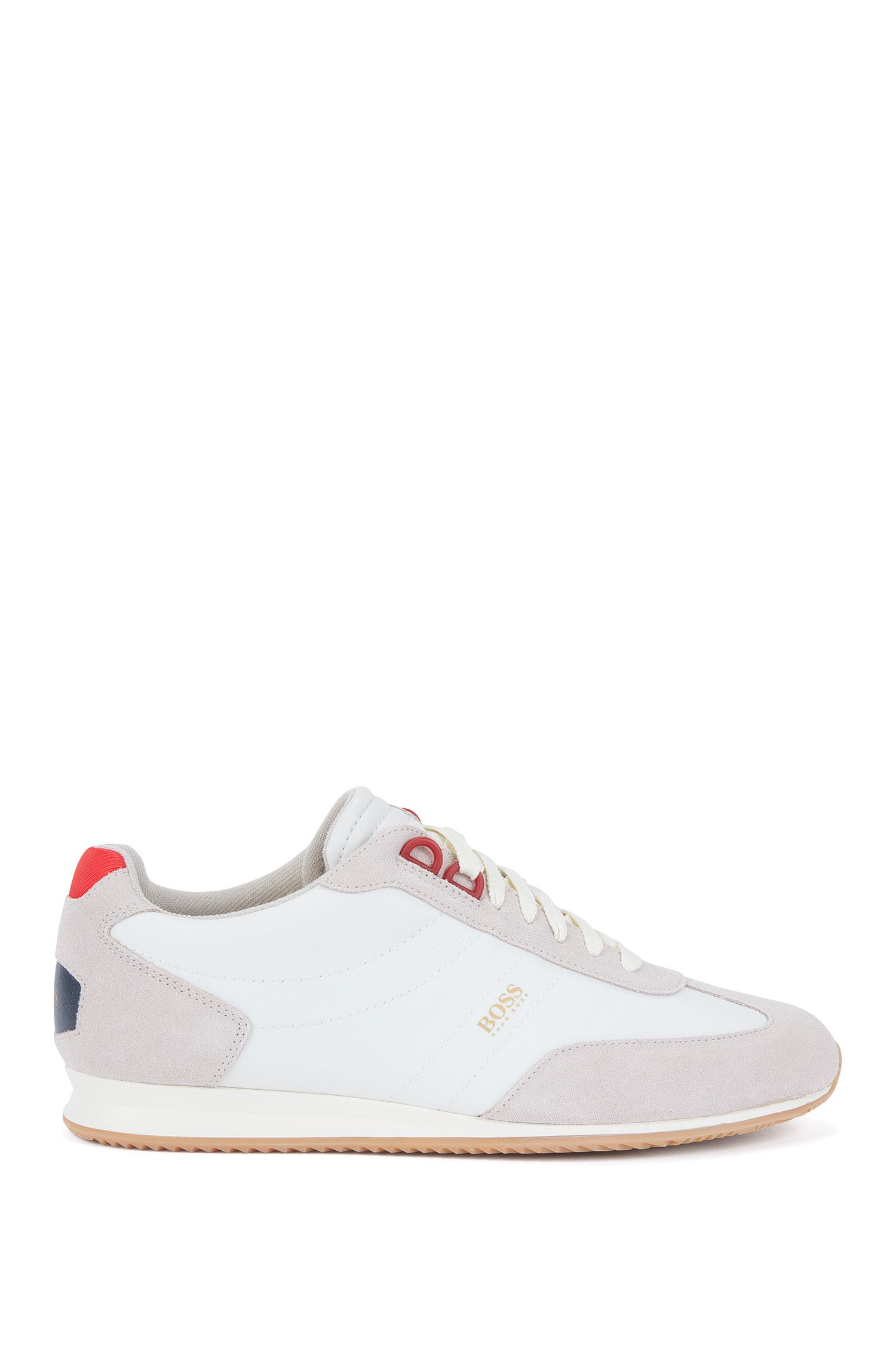 Low-top lace-up trainers in nylon with suede overlays
