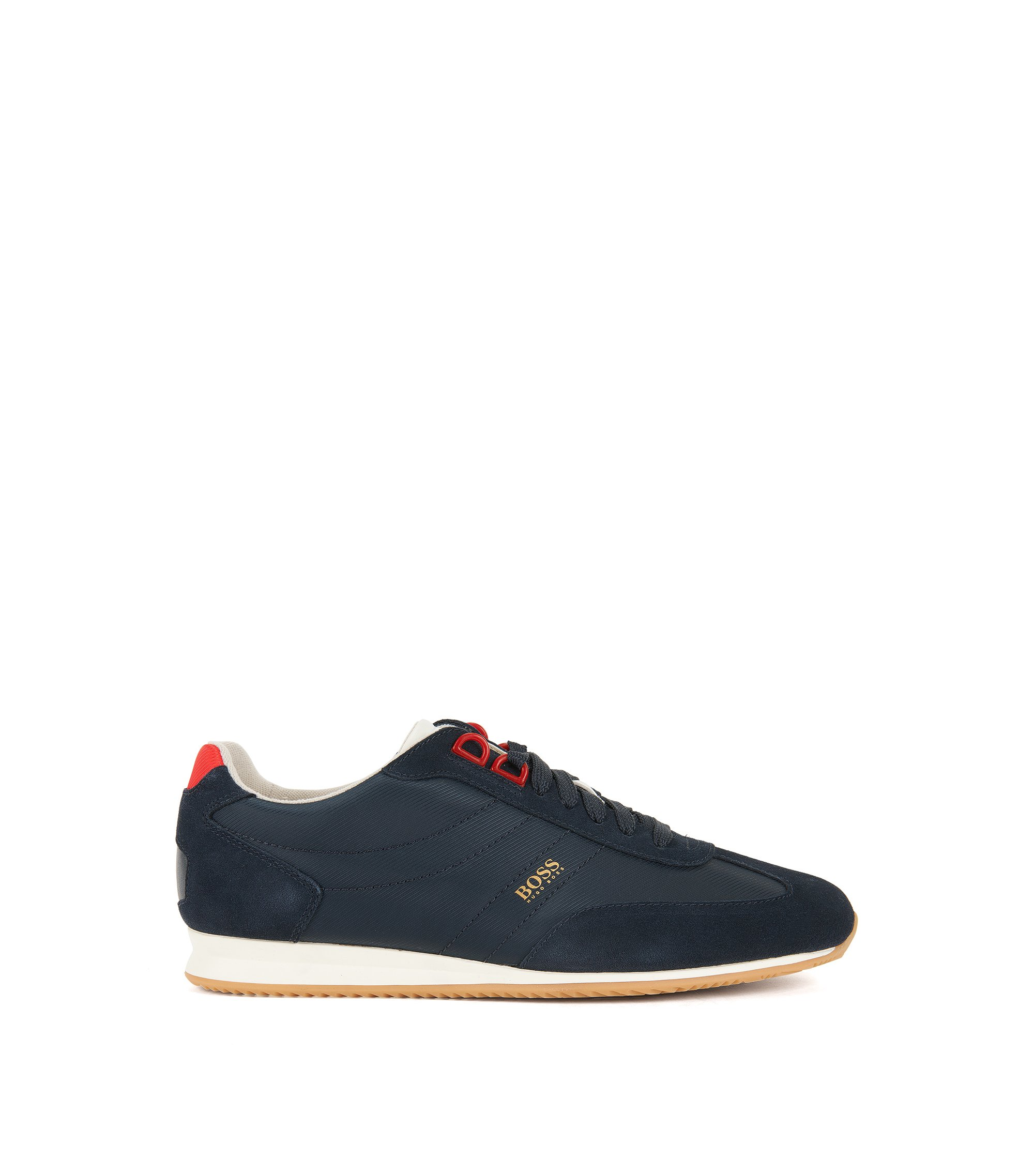 Low-top lace-up trainers in nylon with suede overlays, Dark Blue
