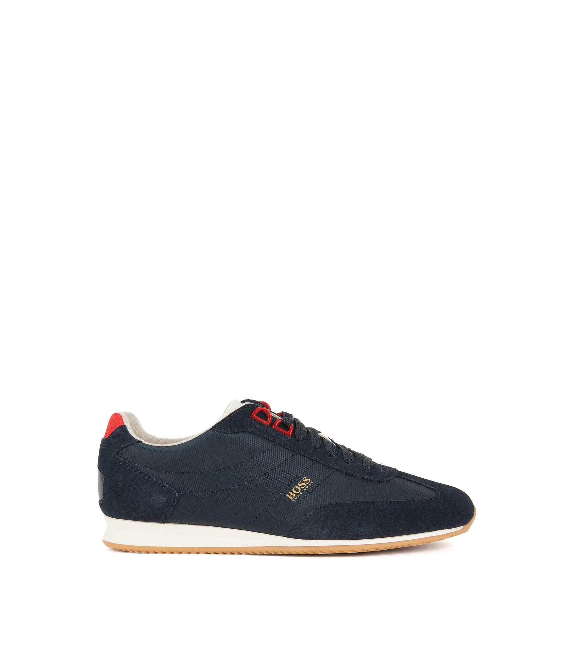 Lage vetersneakers met suède garneersels, Donkerblauw