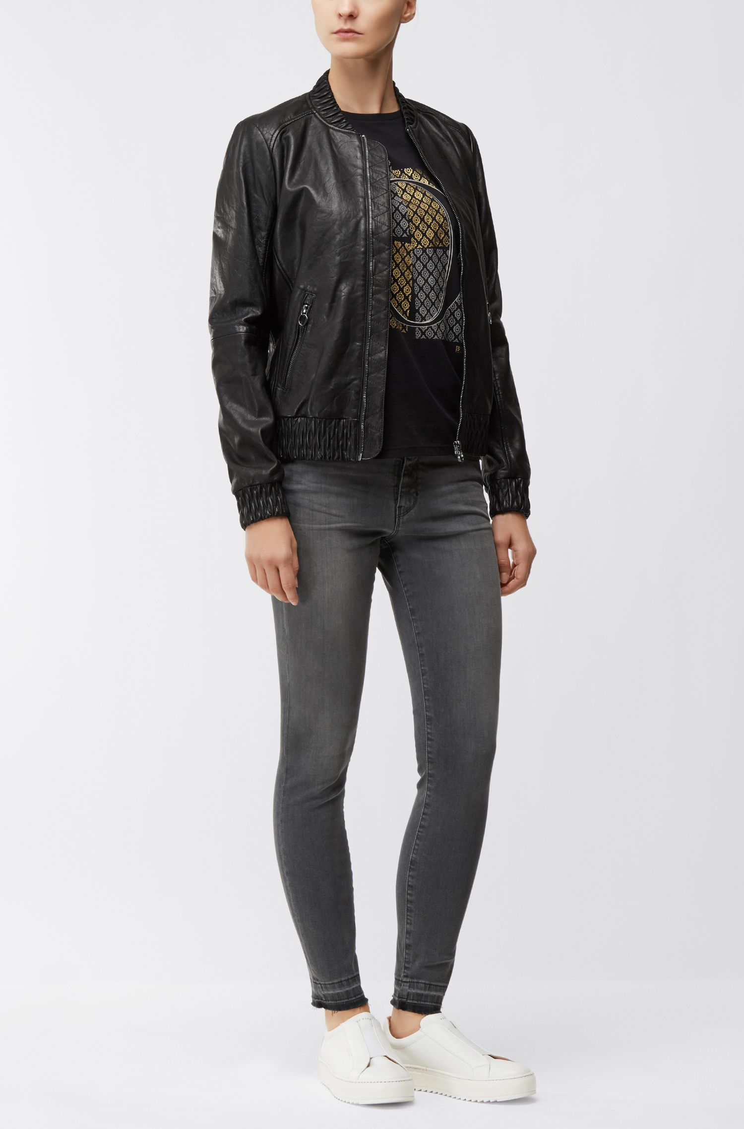 Regular-fit leather jacket with gathered trims