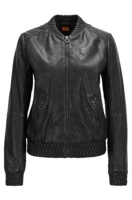 Regular-fit jas van leer met gerimpelde details, Zwart