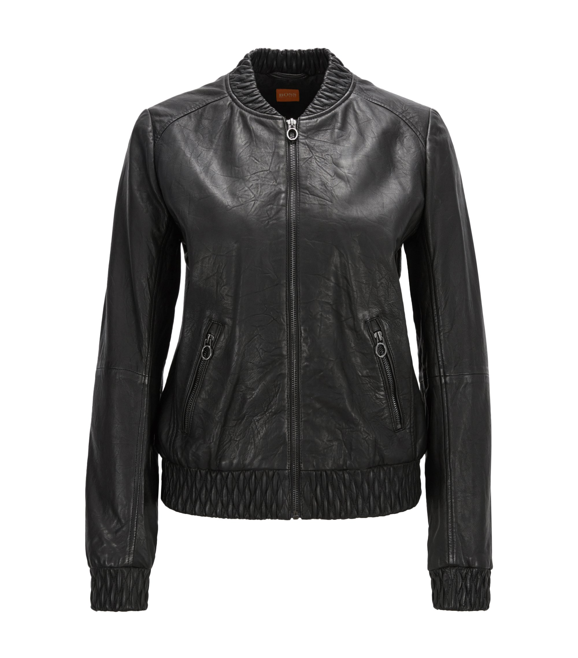 Regular-fit leather jacket with gathered trims, Black