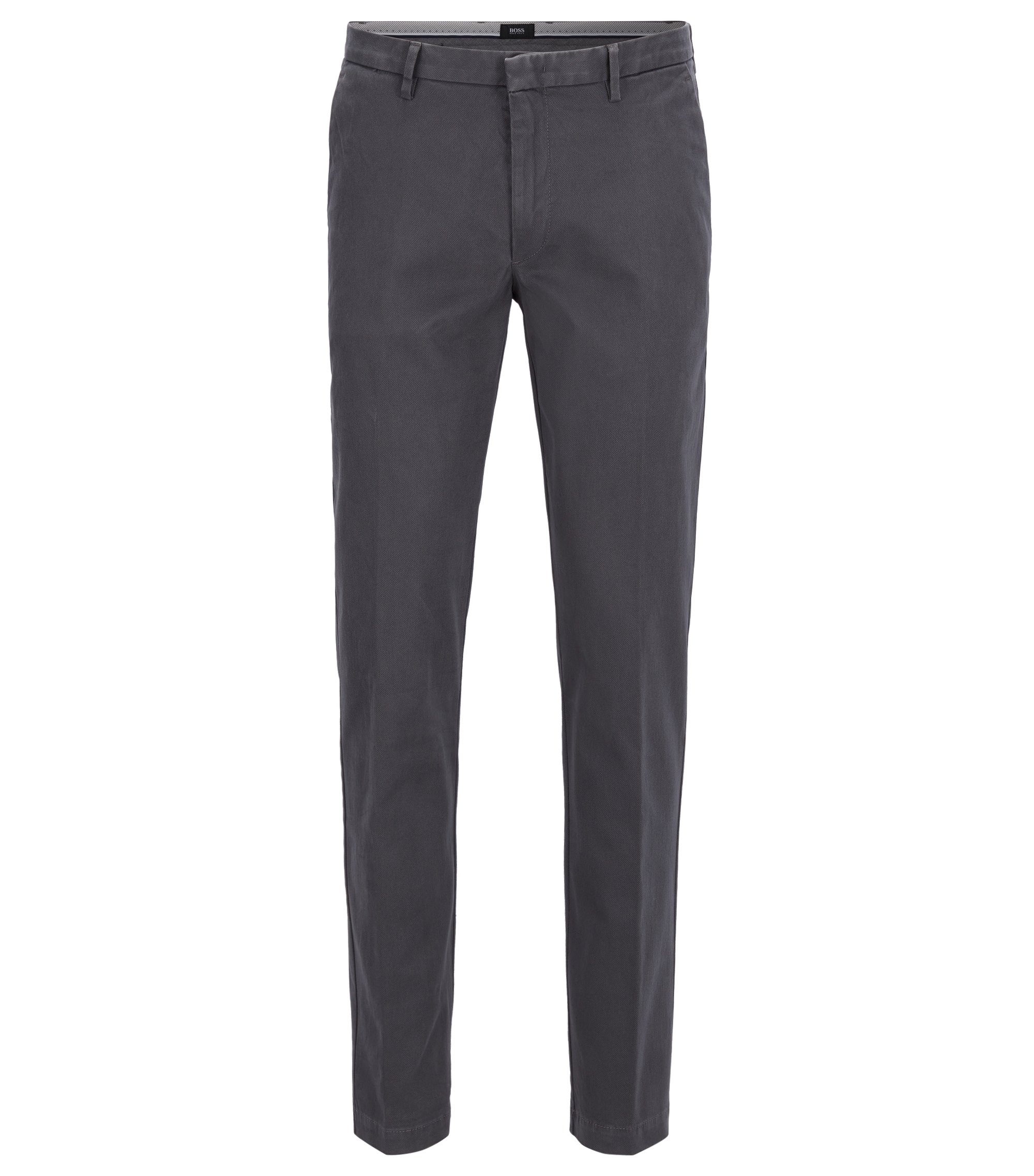 Chino Slim Fit en coton stretch imprimé, Gris