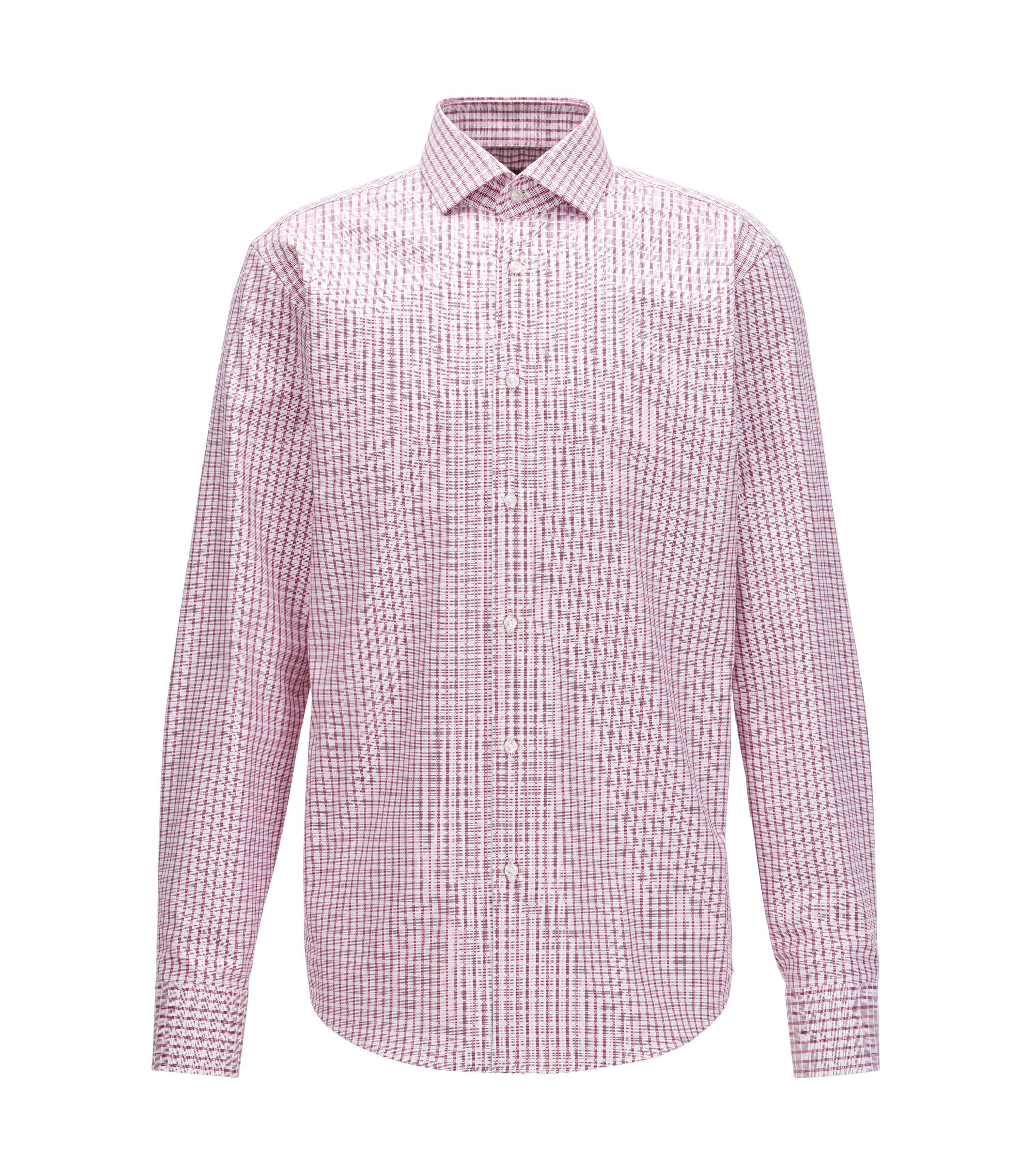 Camicia a quadri regular fit in cotone Fresh Active, Rosa scuro