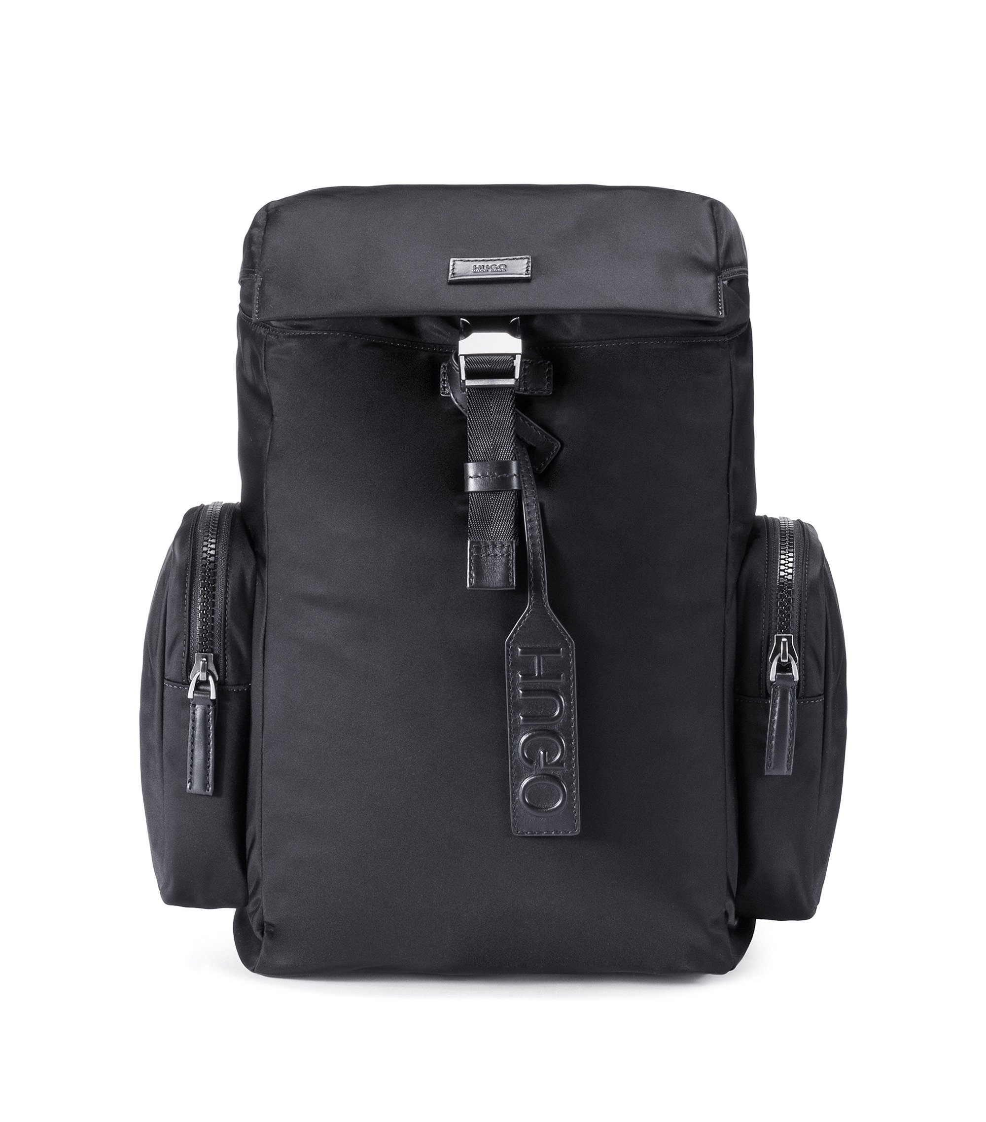 Nylon gabardine backpack with smooth leather trims, Black