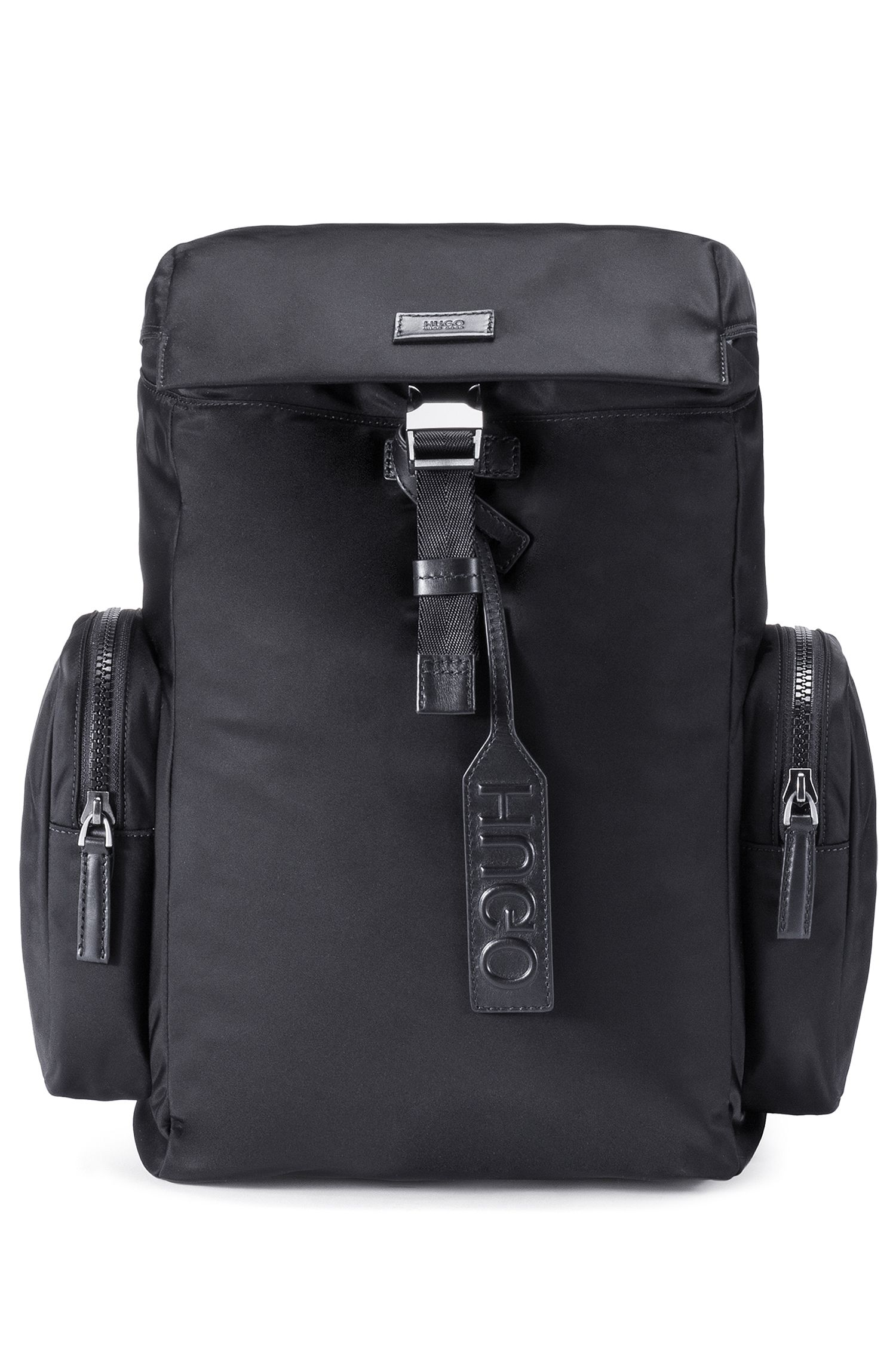 Nylon gabardine backpack with smooth leather trims