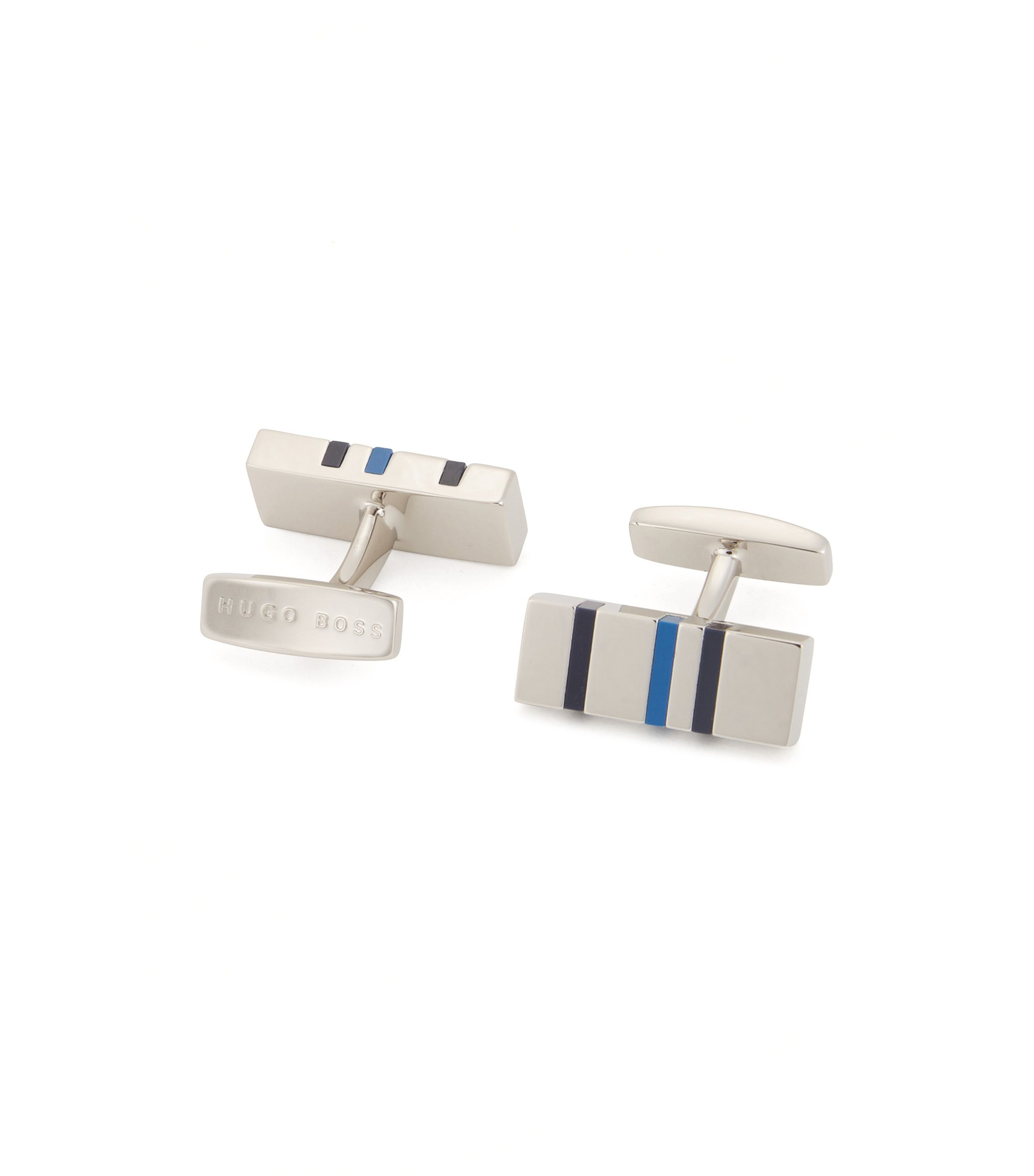 Rectangle cufflinks with modern enamel stripes, Blue