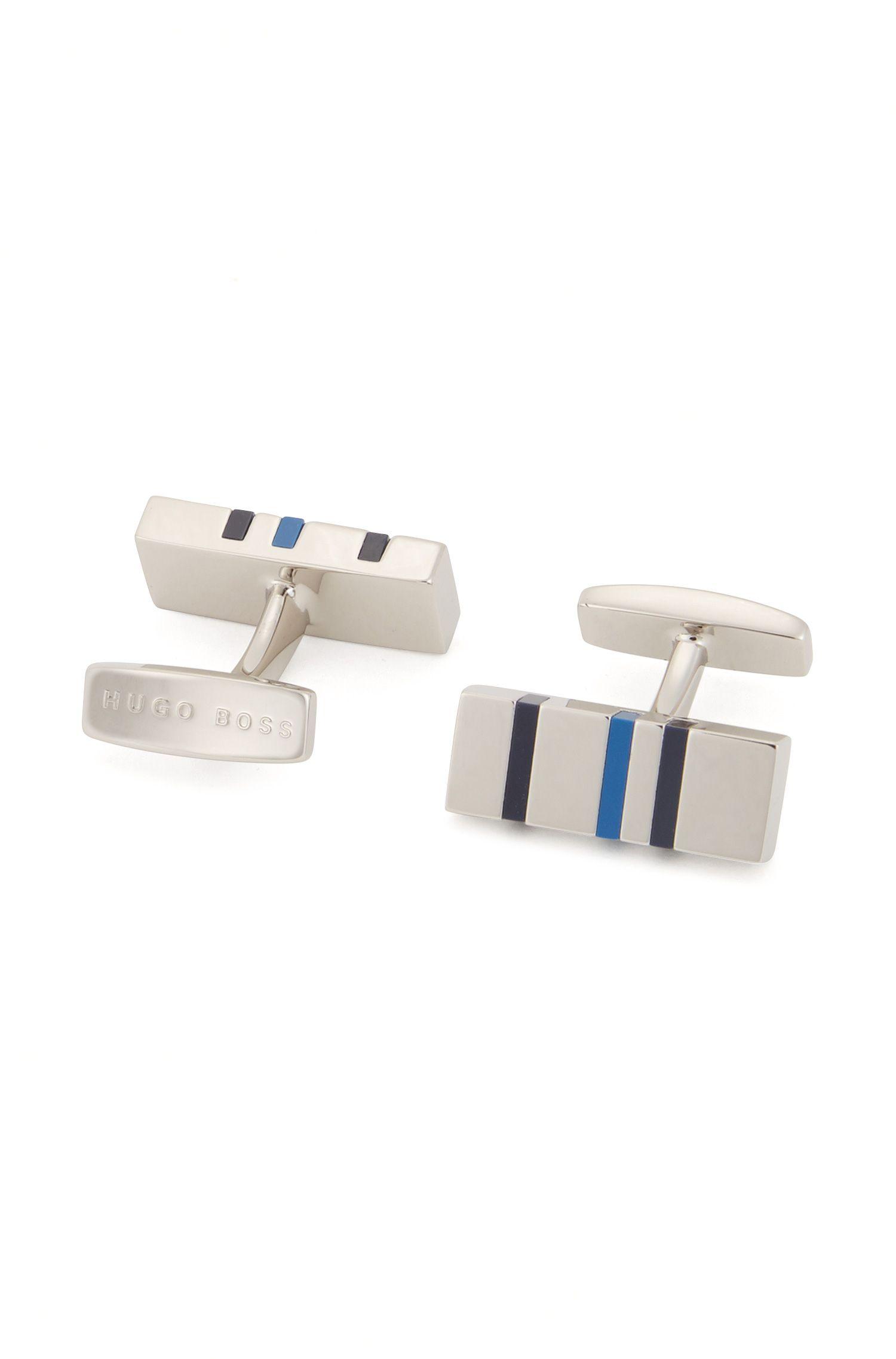 Rechteckige Manschettenknöpfe mit Emaille-Streifen