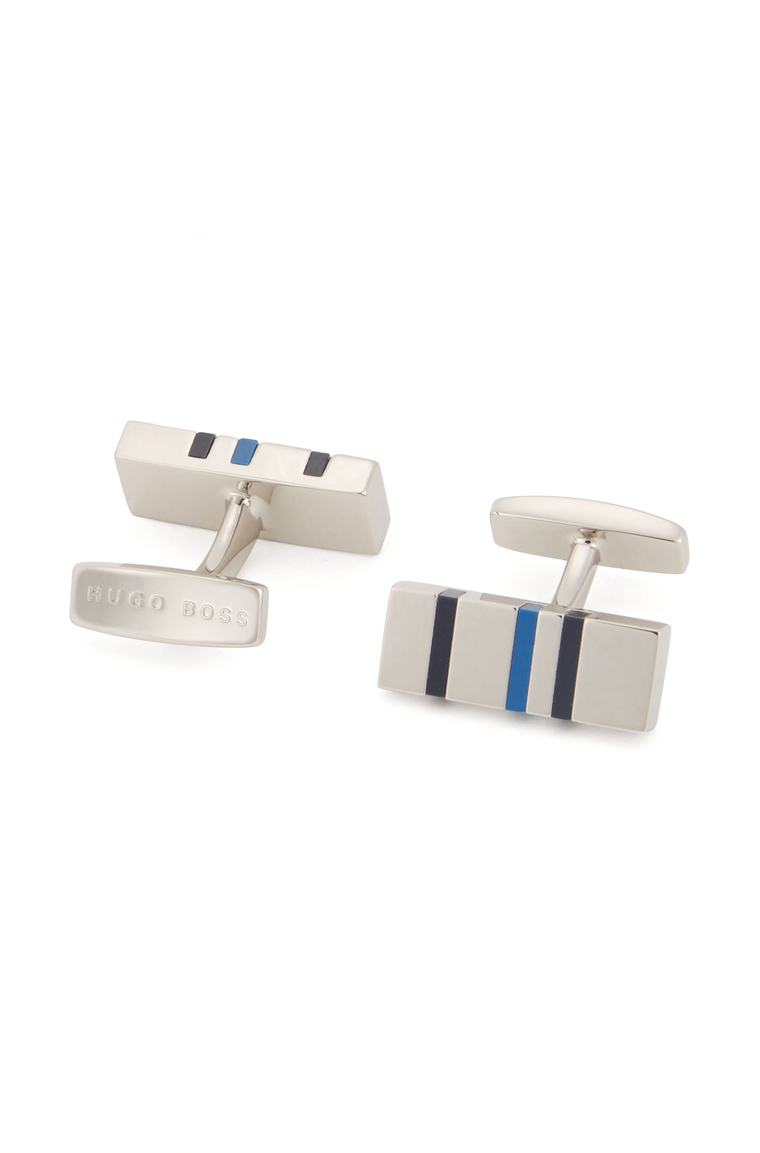Rectangle cufflinks with modern enamel stripes