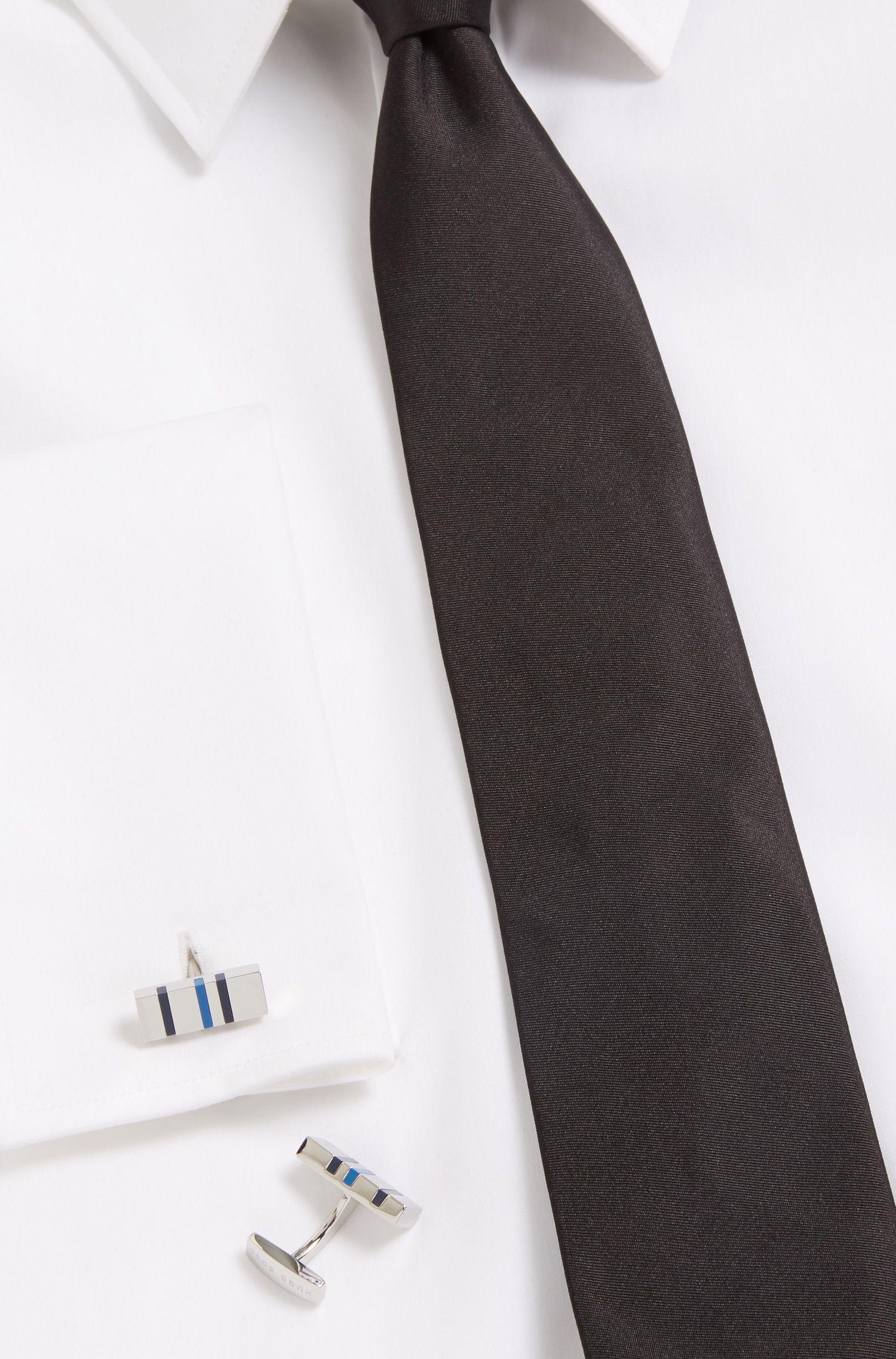 Rechthoekige manchetknopen met moderne strepen van email