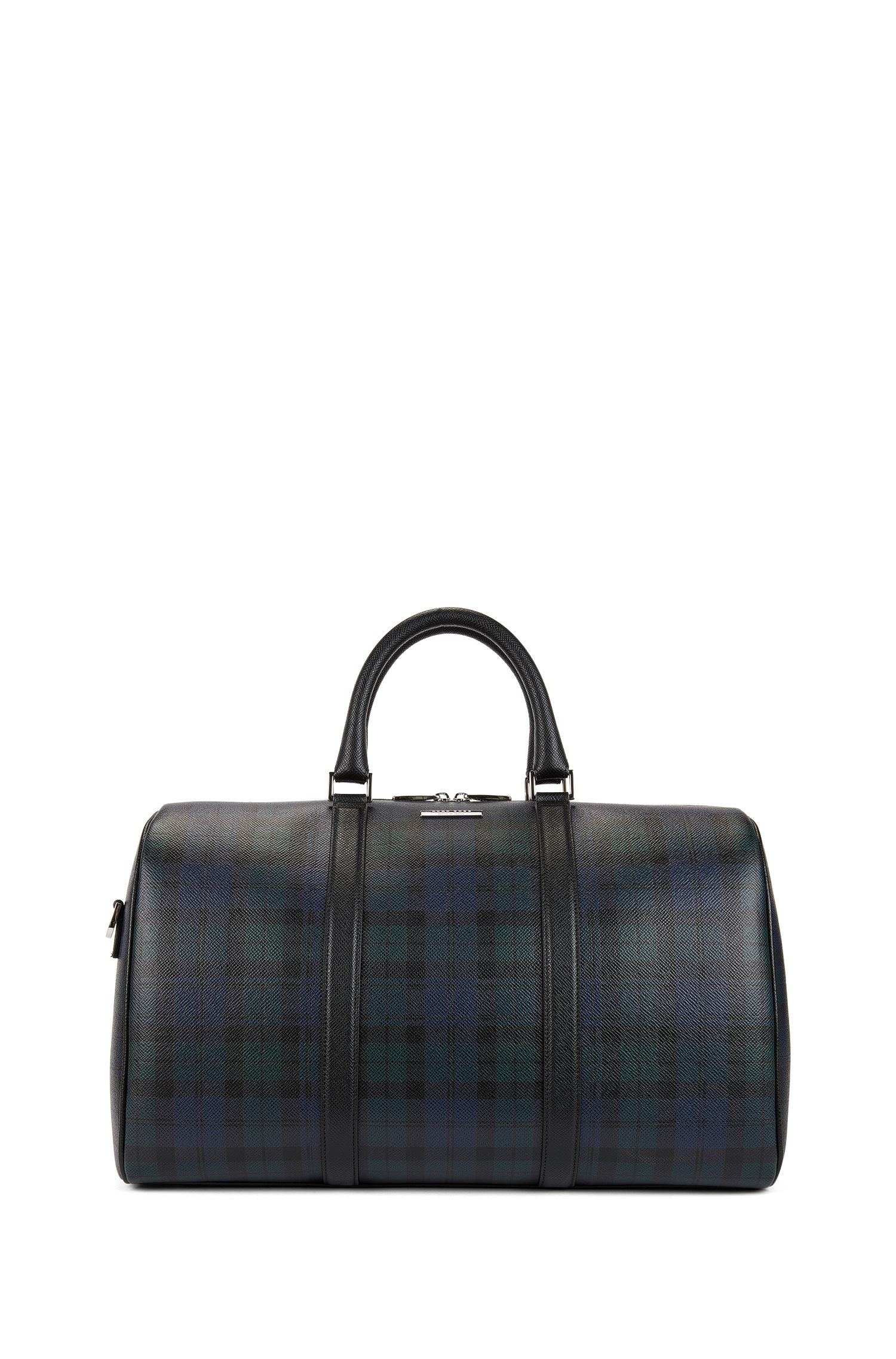 Signature Collection holdall in palmellato leather with blackwatch print
