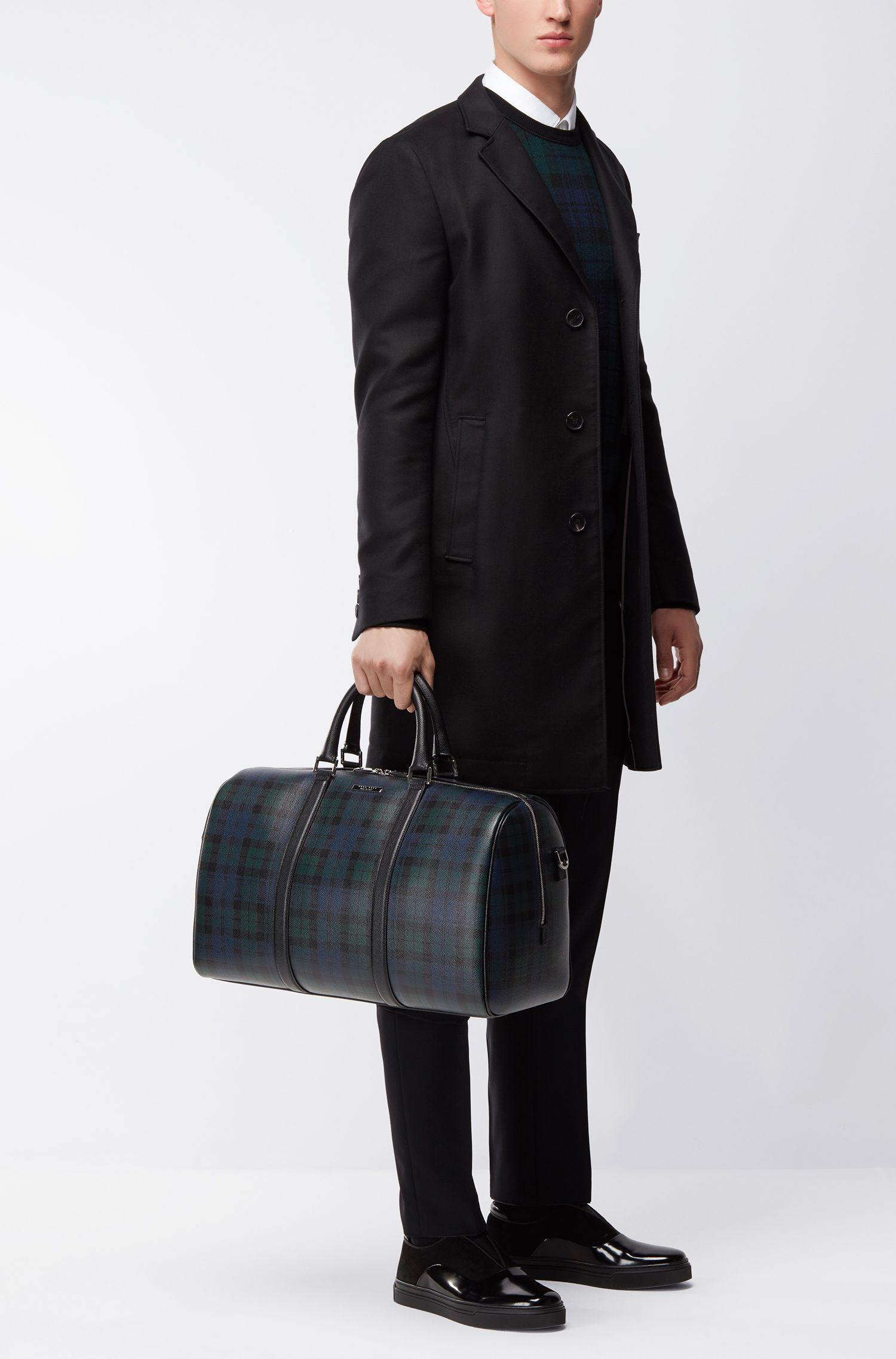Weekender aus Palmellato-Leder mit Blackwatch-Print aus der Signature Collection