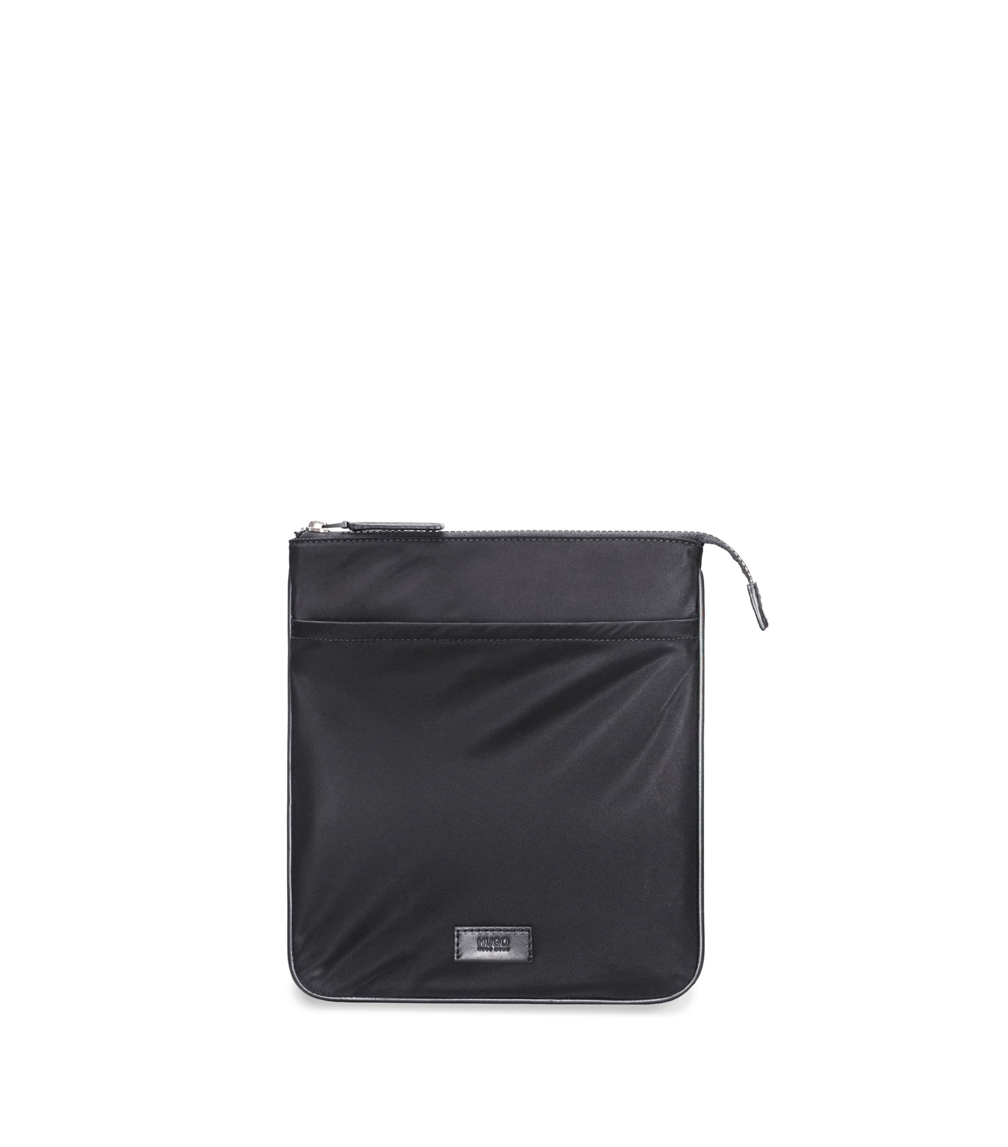 Envelope bag in gabardine nylon with leather trims, Black