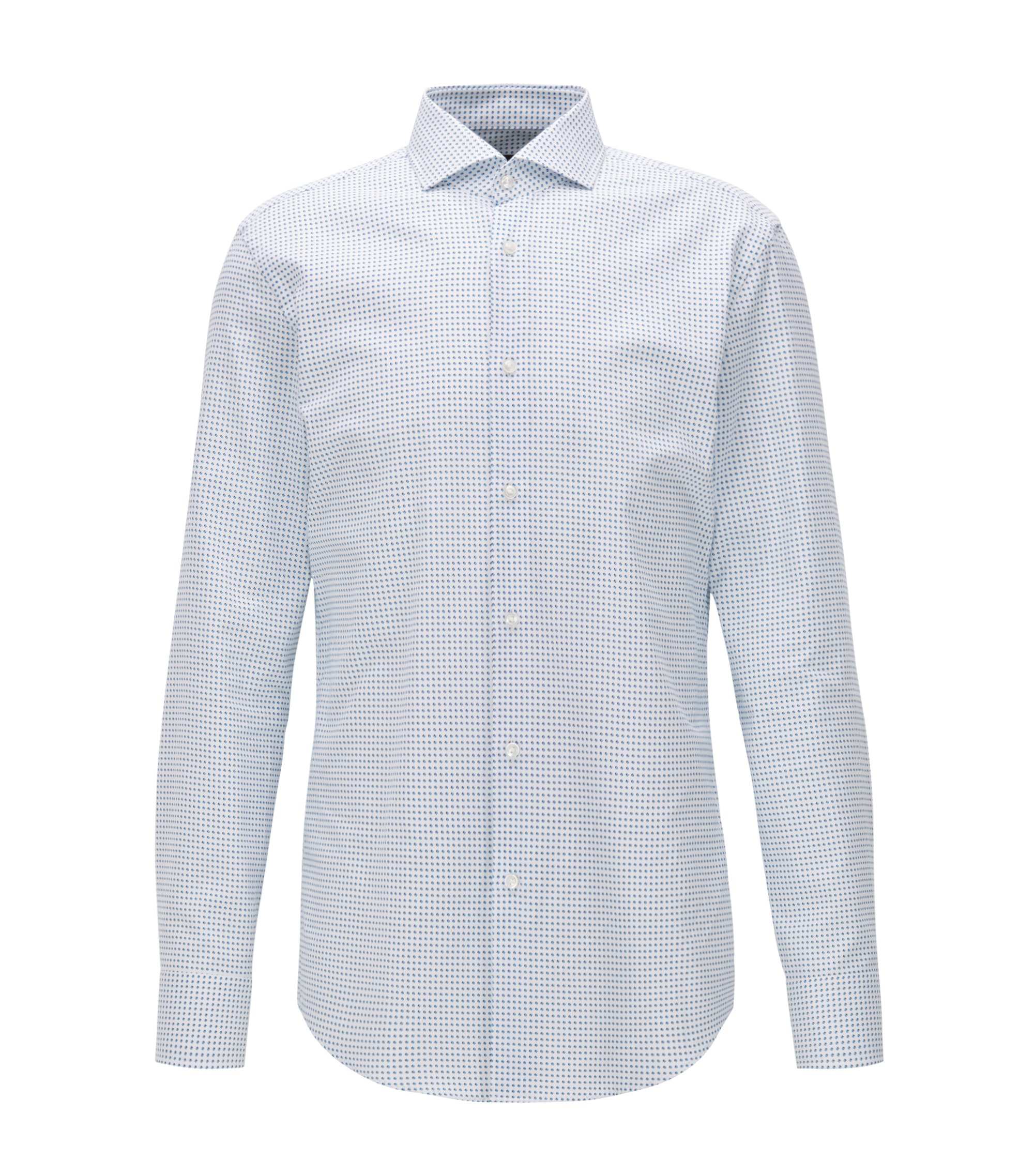 Slim-fit Oxford cotton shirt with rounded motif print, Blue