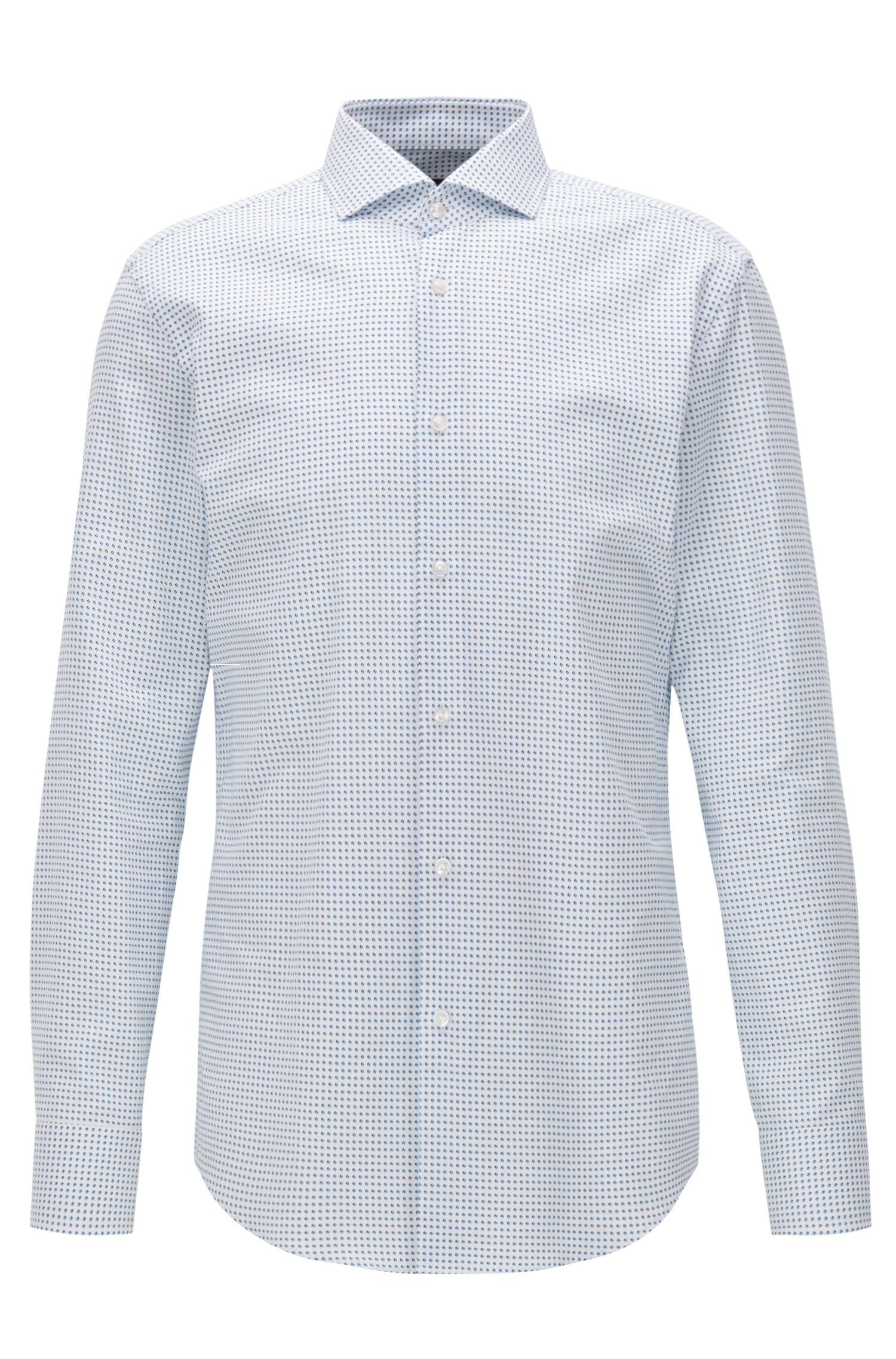 Slim-fit Oxford cotton shirt with rounded motif print
