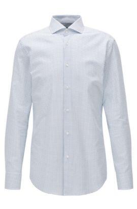Slim-fit Oxfordoverhemd van katoen met print met cirkelmotief, Blauw