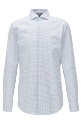 Slim-Fit Hemd aus Oxford-Baumwolle mit Kreis-Print, Blau