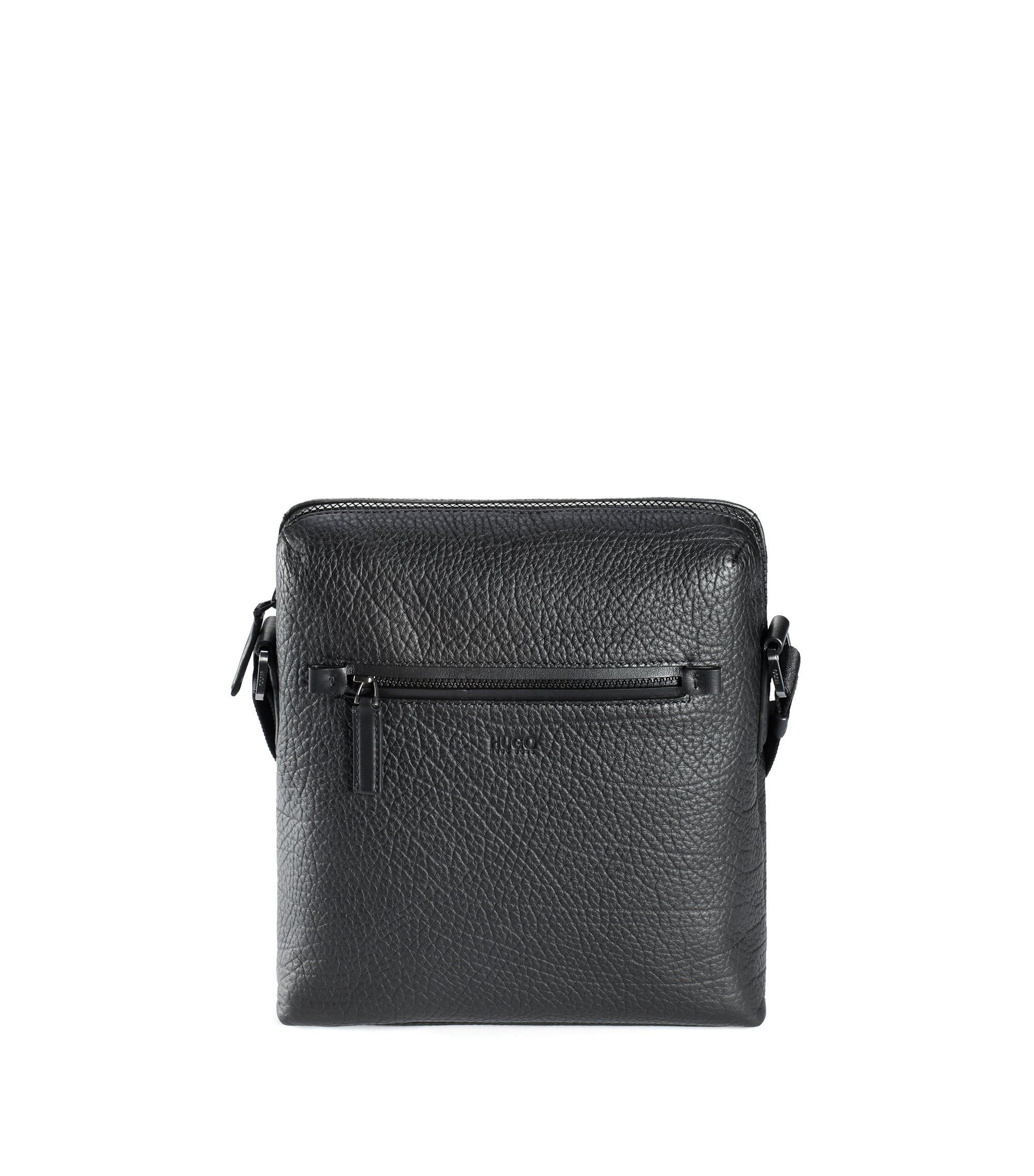 Reporter bag in grained Italian leather, Zwart