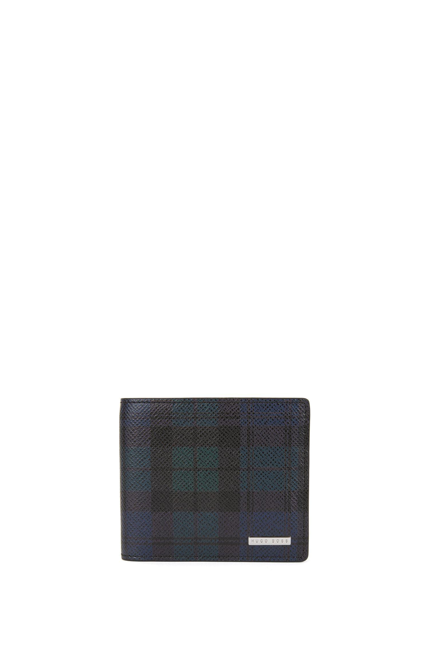 Portafoglio bi-fold della collezione Signature in pelle palmellata stampata con otto scomparti per le carte