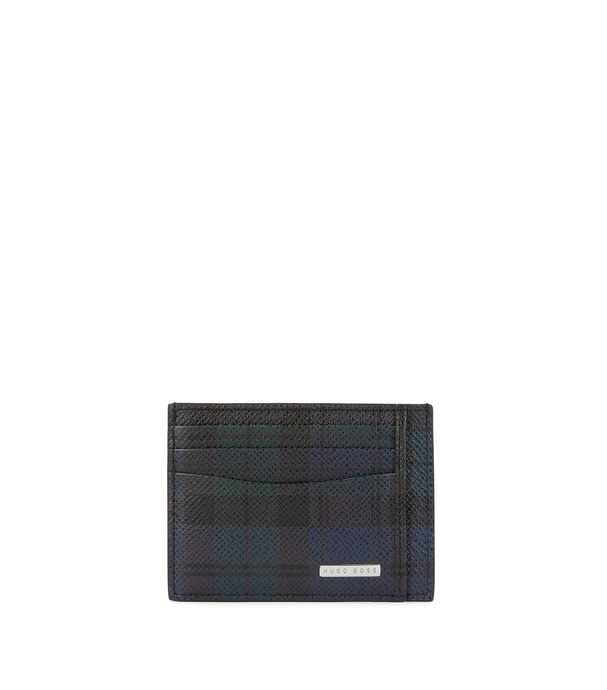 Signature Collection card holder in palmellato leather with blackwatch print, Patterned