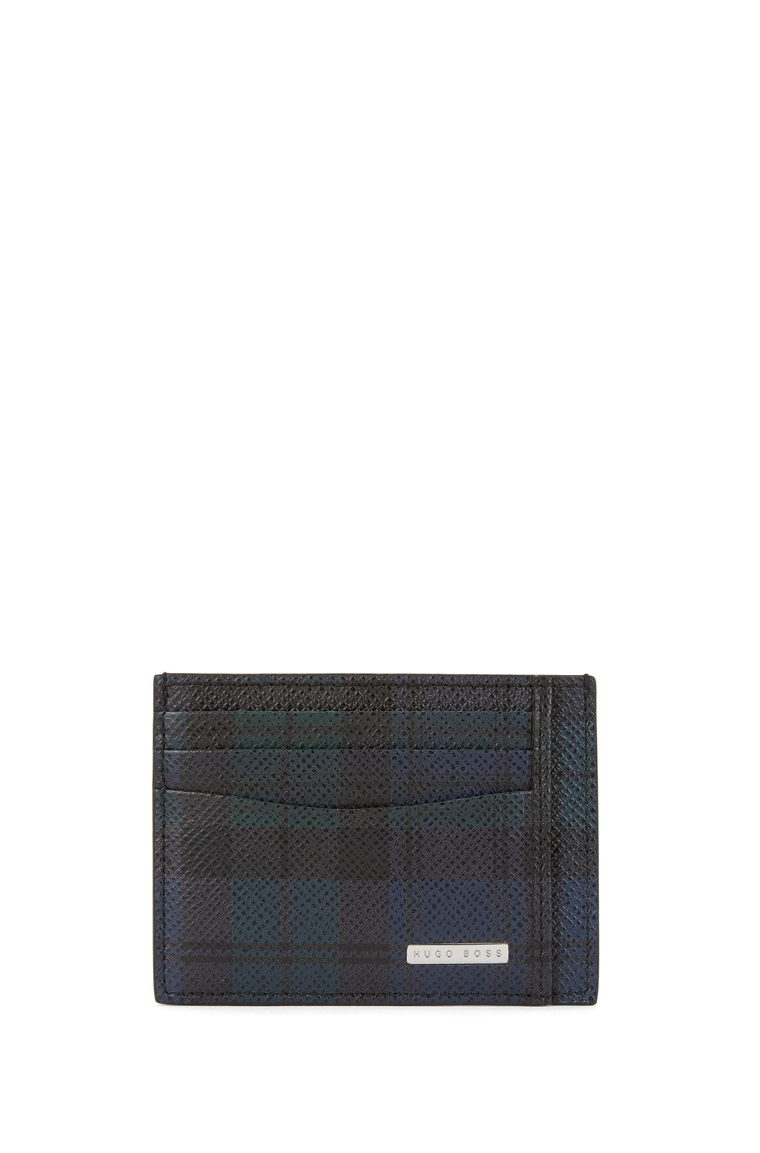 Porte-cartes Signature Collection en cuir palmellato à imprimé tartan
