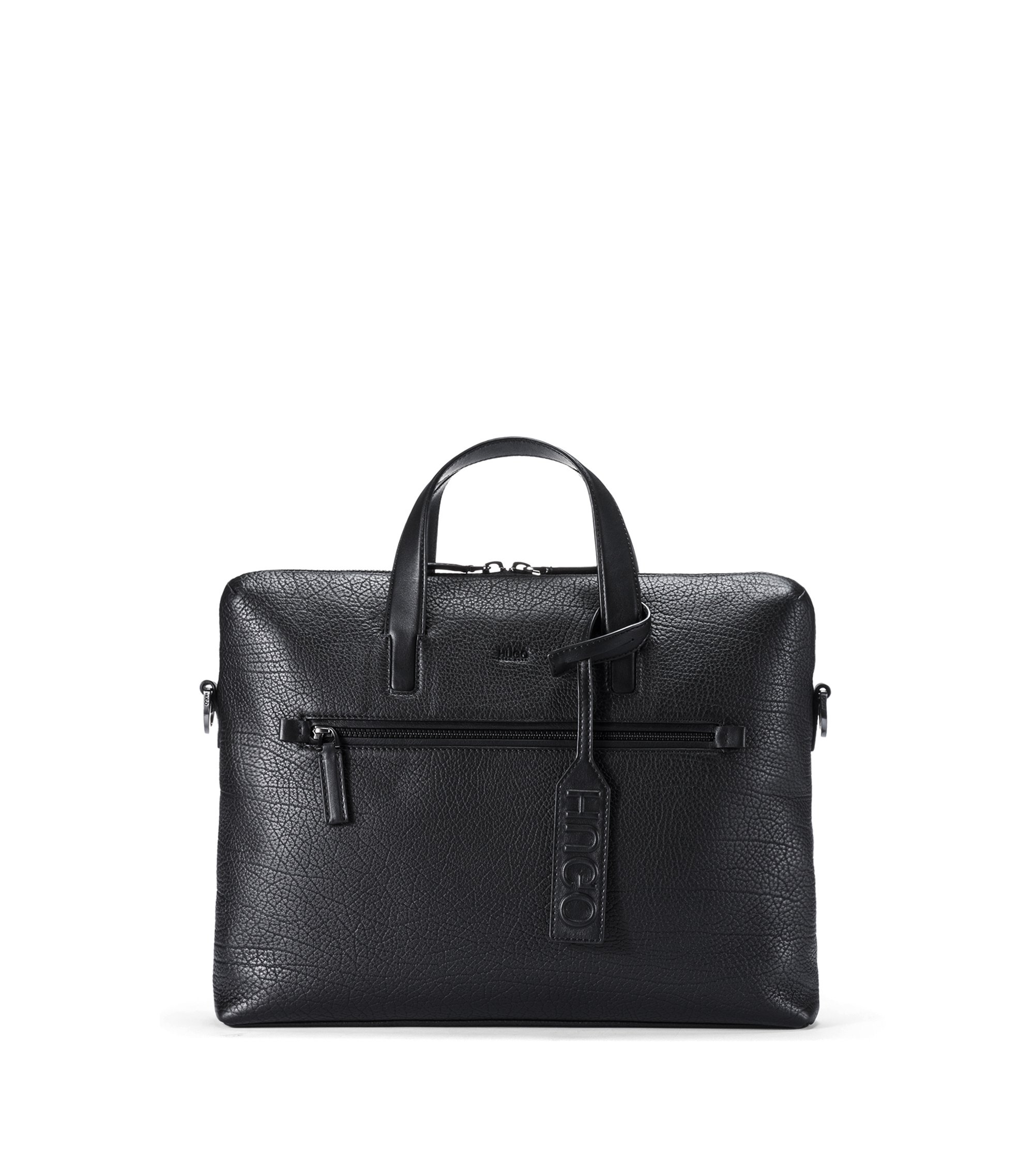 Document case in buffalo-embossed Italian leather, Black