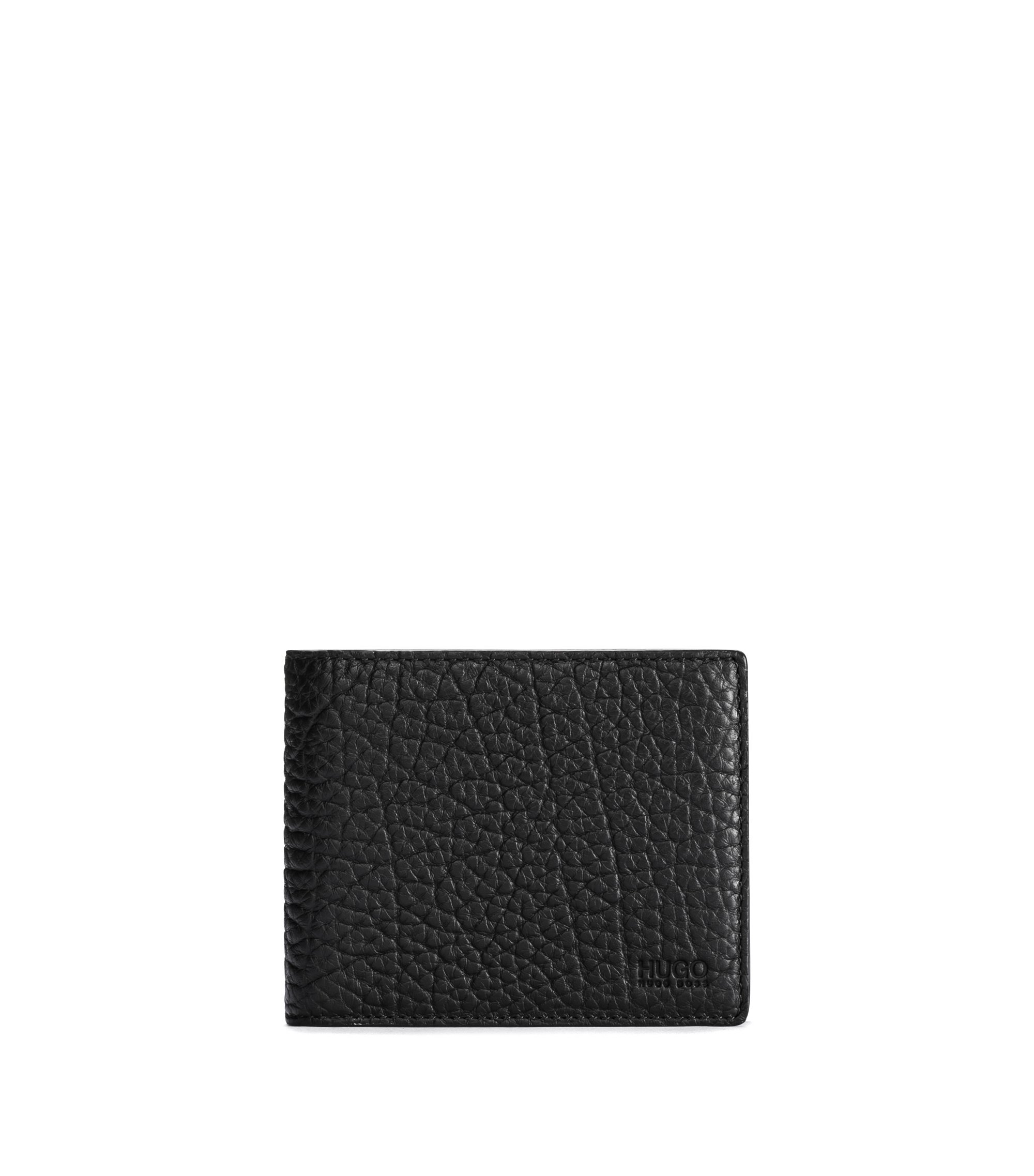 Bifold wallet in grained leather, Black