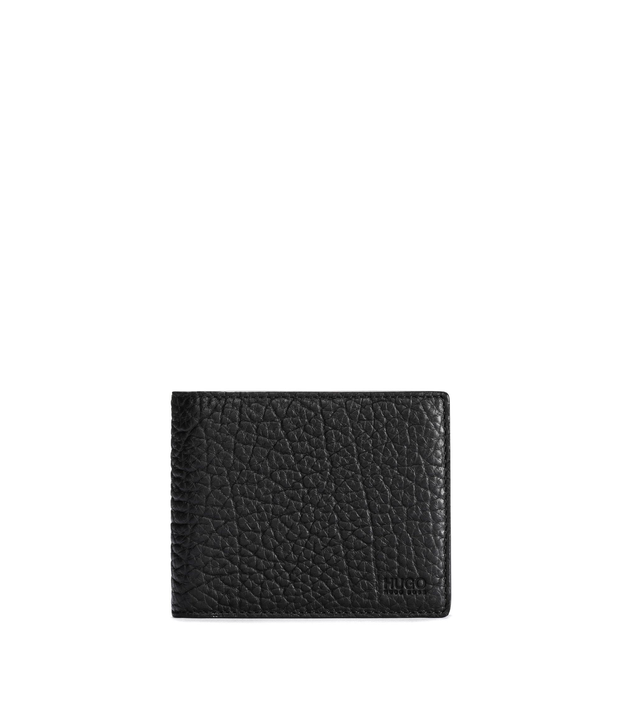 Uitklapbare portemonnee van generfd rundleer, Zwart
